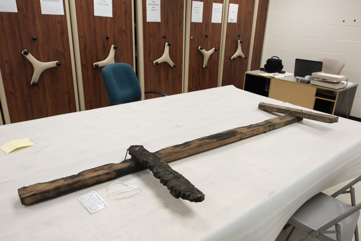 Museum Division, MS Dept of Archives and History. Jackson MS. 12/3/2015. Cross burned by the Ku Klux Klan at the home of Doris and G.T. Vaccarella Jr., on the night of August 12th, 1964.