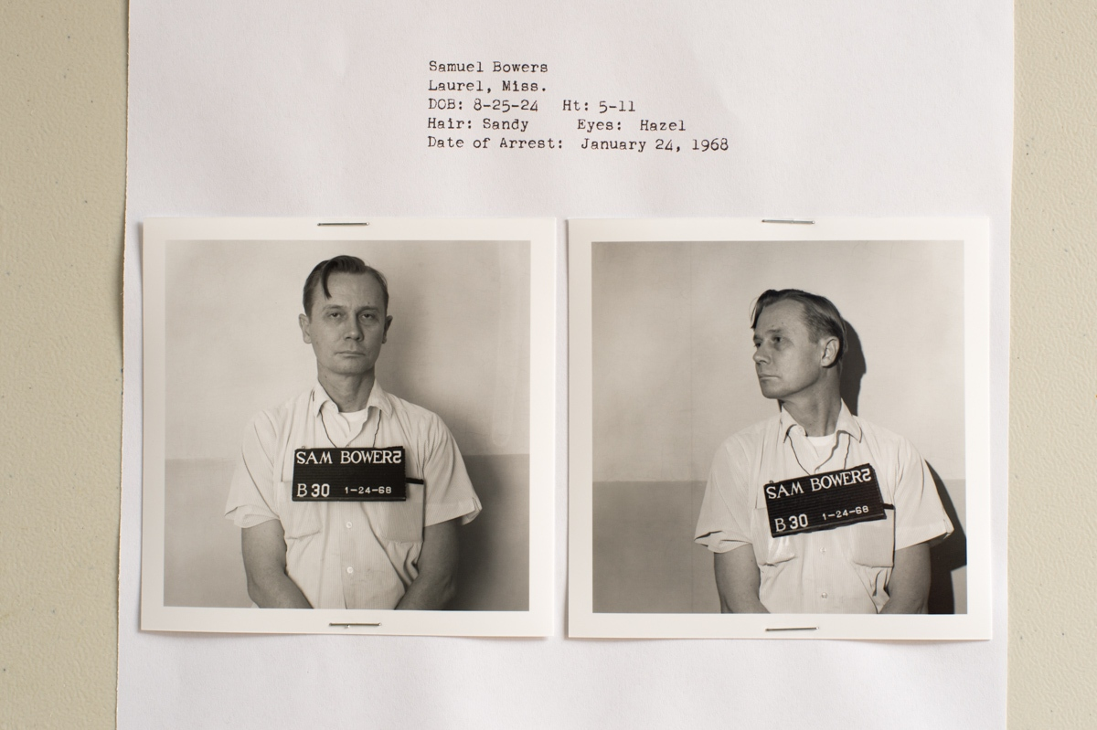 """Jackson, MS. 3/1/2016. Archives and Records Services Division, Mississippi Dept of Archives and History. January 24, 1968 arrest photo of Sam Bowers, who was arraigned on a charge of arson in the 1966 firebombing of civil rights activist Vernon Dahmer's house and store. Sam Bowers was the Imperial Wizard of The White Knights of the Ku Klux Klan of Mississippi. It was Bowers, who in May, 1964, authorized """"the elimination"""" of a """"Goatee,"""" the Klan's name for Mickey Schwerner, one of three civil rights workers who where abducted and murdered during the """"Freedom Summer """" campaign for which he served six years in prison. After four previous trials had ended in deadlocks, Bowers was finally convicted in August, 1998, over thirty-two years after the murder of Vernon Dahmer, by a jury of six blacks, one Asian-American and five whites. He was sentenced to life without parole."""