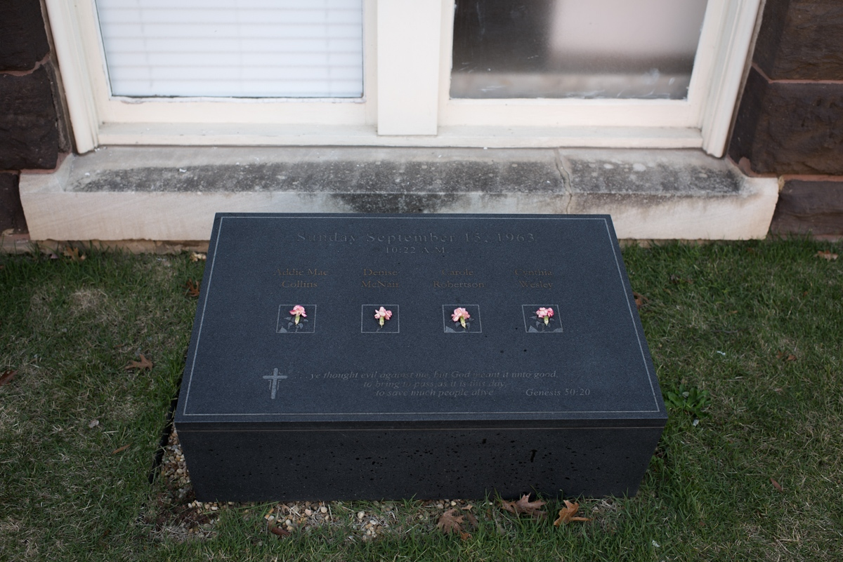Birmingham, AL. 12/8/2015. Memorial stone for the 4 victims of the September 15th 1963 Ku Klux Klan bombing outside the 16th Street Baptist Church.