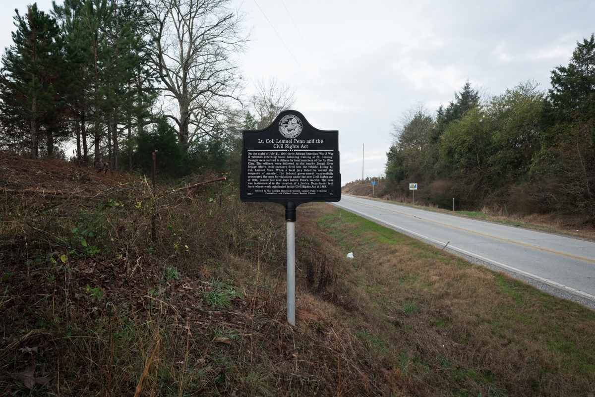 Madison County, GA. 12/10/2015. On the night of July 11, 1964 three African-American World War II veterans returning home following training at Ft. Benning, Georgia were noticed in Athens, GA by local members of the Ku Klux Klan. The officers were followed to the nearby Broad River Bridge where their pursuers fired into the vehicle, killing Lt. Col. Lemuel Penn. When a local all white jury failed to convict the suspects of murder, the federal government successfully prosecuted the men for violations under the new Civil Rights Act of 1964, passed just nine days before Penn's murder. The case was instrumental in the creation of a Justice Department task force whose work culminated in the Civil Rights Act of 1968.