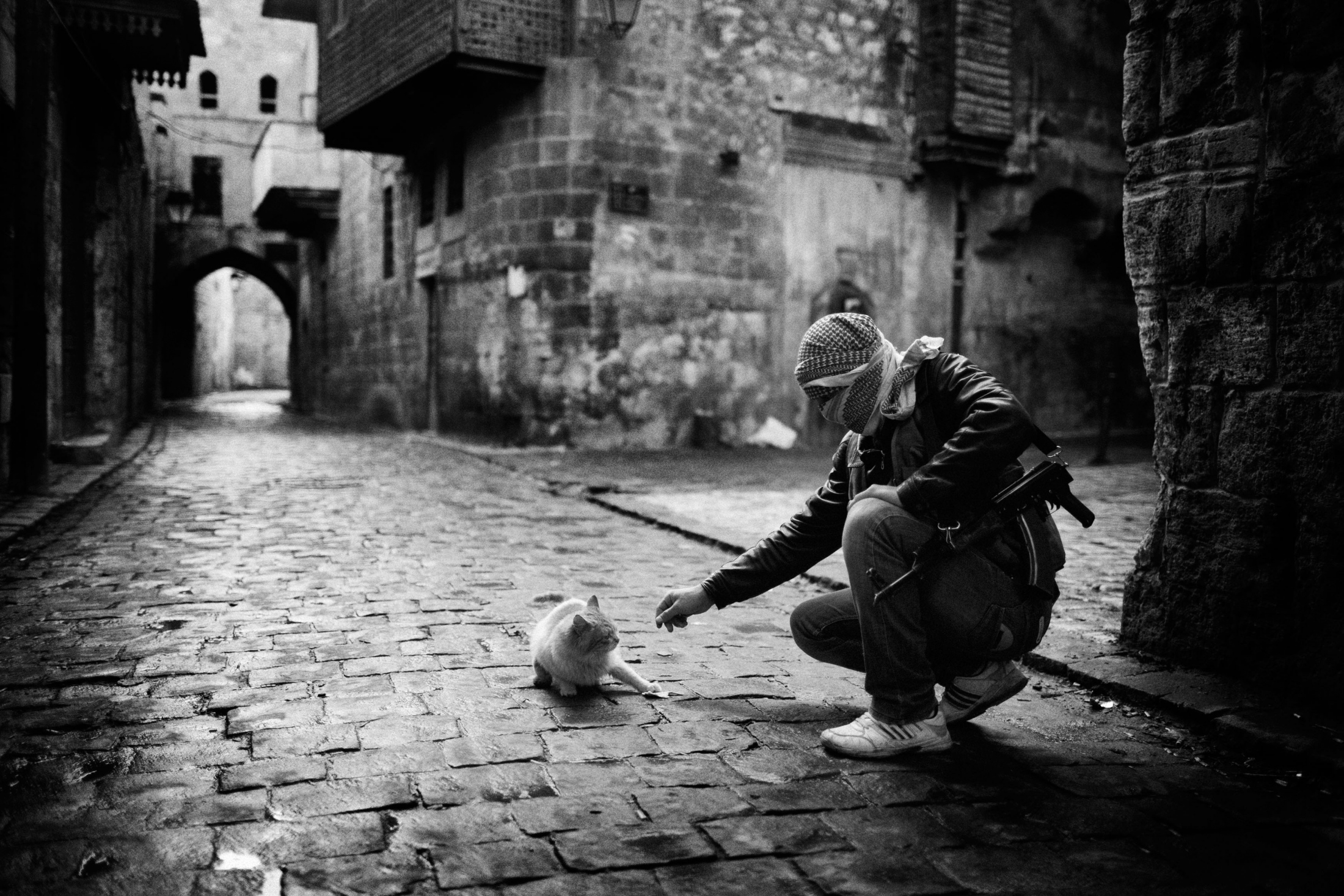 """A Syrian islamist rebel giving food to a cat in the Old City neighborhood of Aleppo, Syria, Wednesday, Jan. 6, 2013. The United Nations estimated that more than 400,000 people have been killed in Syria's 60-month-old uprising against authoritarian rule, a toll one-third higher than what anti-regime activists had counted. The U.N. human rights chief called the toll """"truly shocking."""" Copyright: Spanish Photojournalist Andoni Lubaki"""