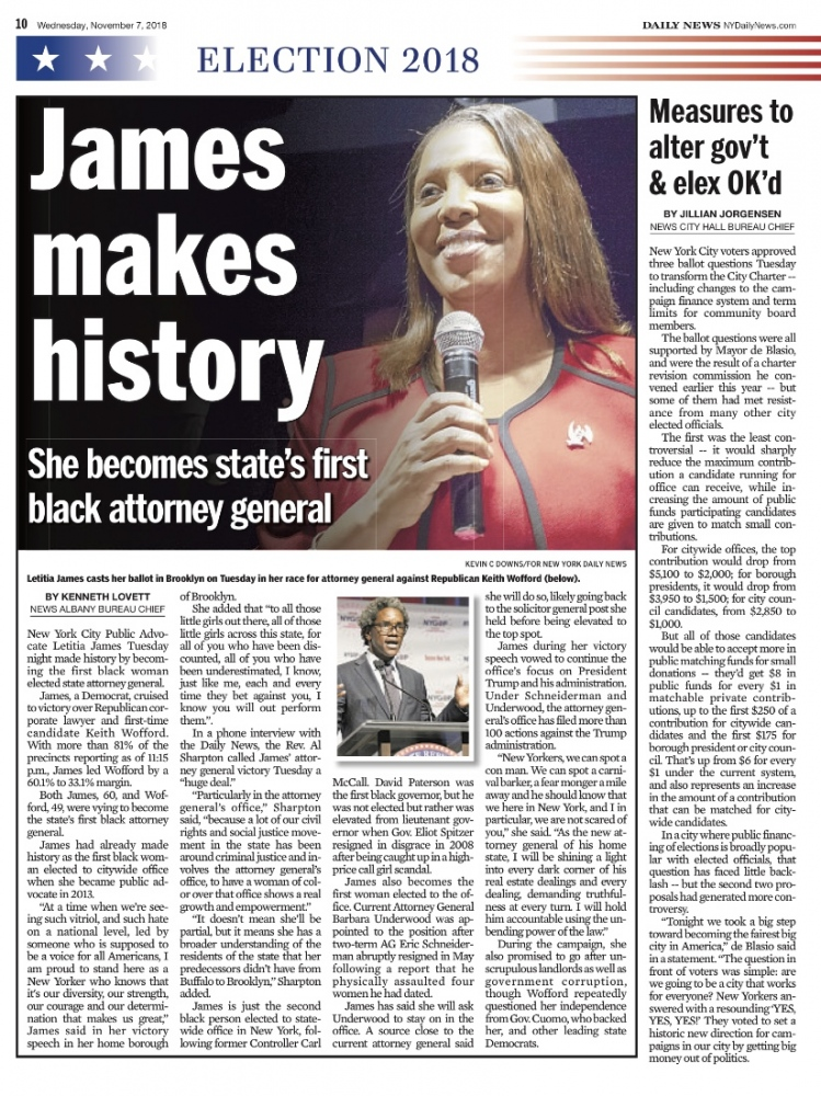 Photography image - Letitia James is the first African American female to be elected Attorney General of New York. November 6, 2018