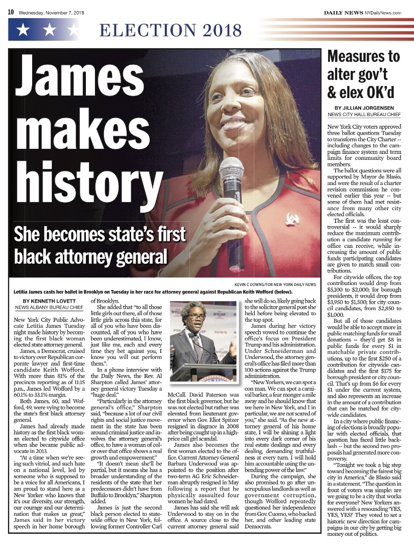 Letitia James is the first African American...