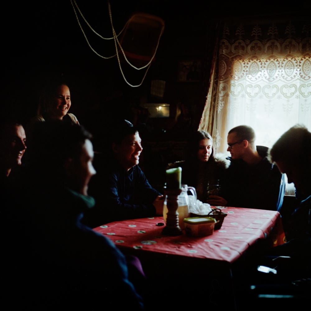 In Christmas from the 24th, and for two or three days, the residents of Kihnu go from house to house after the midnight mass to sing and eat. Young people gather at Kuraga, the Michelson's family farm. December 2017.