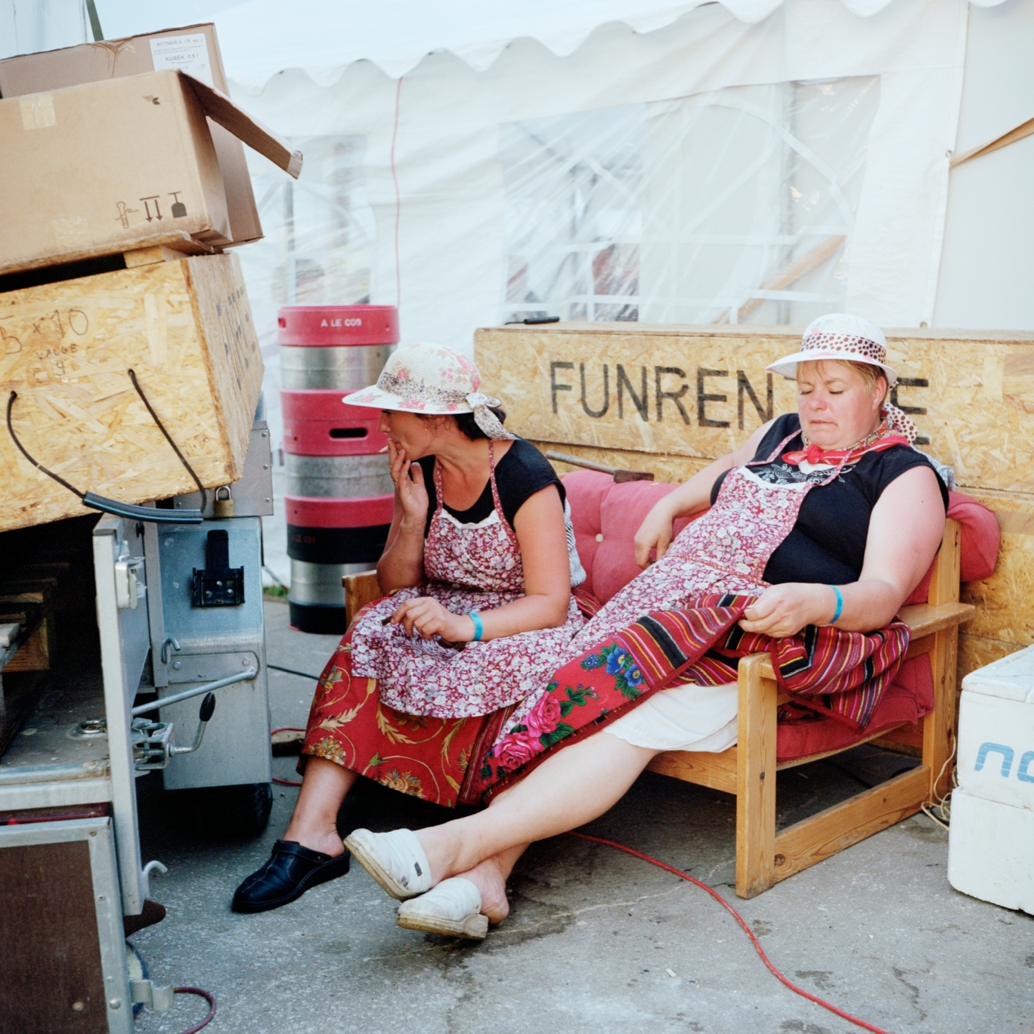 During the Ocean Fest (Merepidu), Talvi and Merike take a break between the first and second meal servings. Many continentals visit making the summer months financially important for the island of Kihnu. July 2014.