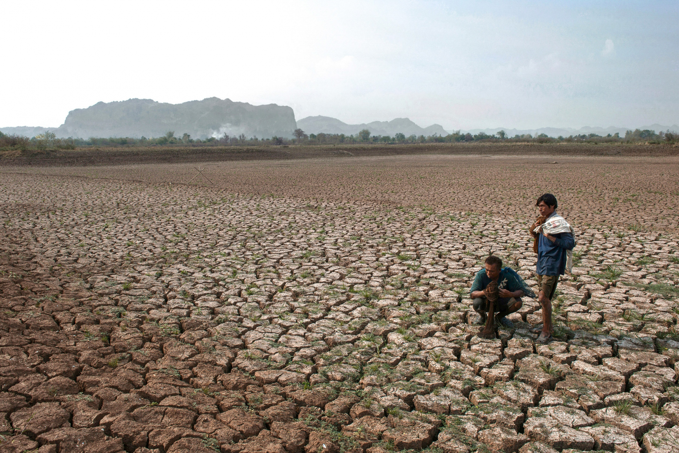 Thailand faced the heaviest drought in decades with an extended dry season and temperatures rocketing above 40 degrees Celsius. The late arrival of annual rains and the deficient precipitation resulted in insufficiency of water for domestic and agricultural uses. Phu Pha Man, Khon Kean, Thailand-April 4, 2016.