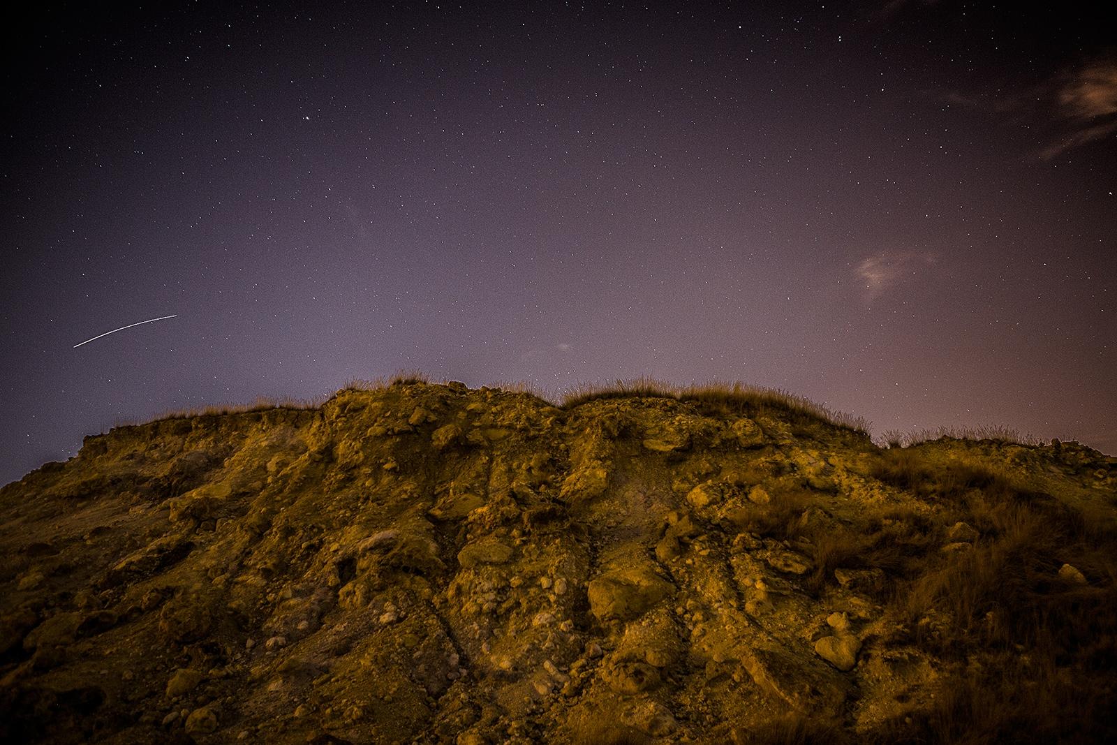 Natural sulphur springs at night