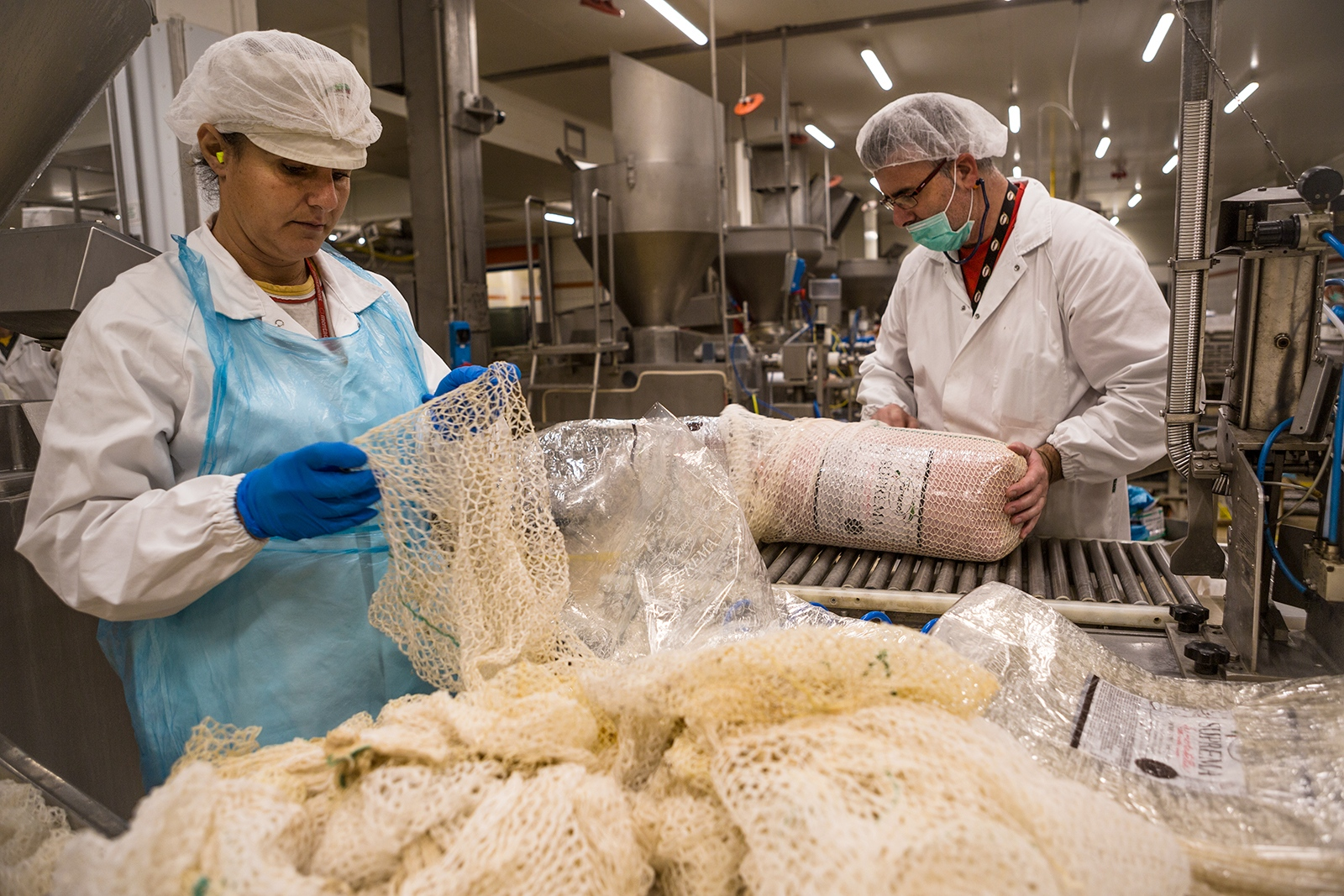 Workers at a Meatpacking Plant