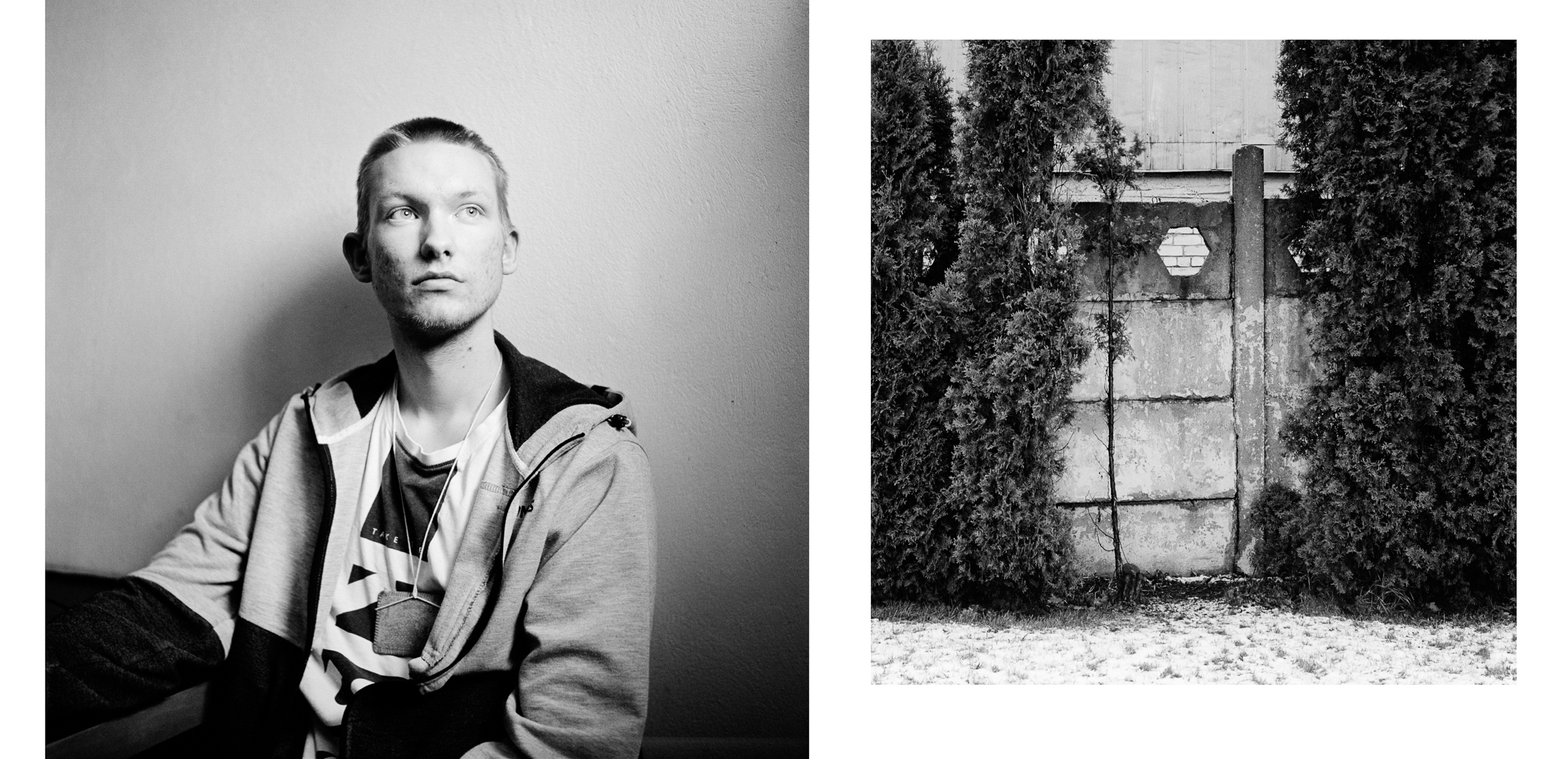 Dāvis , 17 years old. He does not speak much. Dāvis often seems absent. I photographed him in his cell. He asked me to photograph around the club where he was canoeing in the city of Jelgava. I find this opening sequence in the wall. (photos: Jérémie)