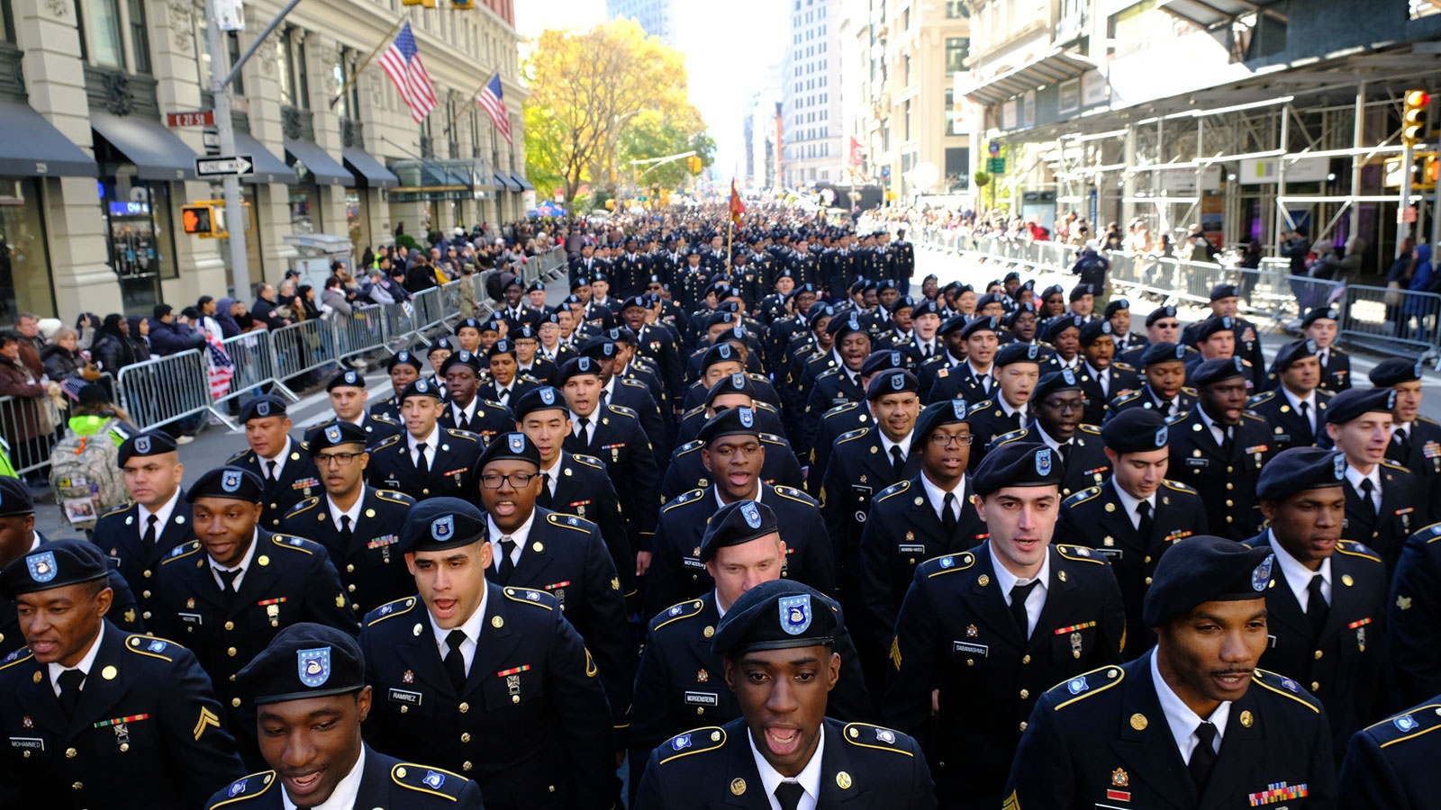 More than 25,000 people many of them veteran's and active-duty military members, march up Fifth Avenue to pay gratitude to those who have served and are serving in the United States military for New York City's annual Veteran's Day Parade.
