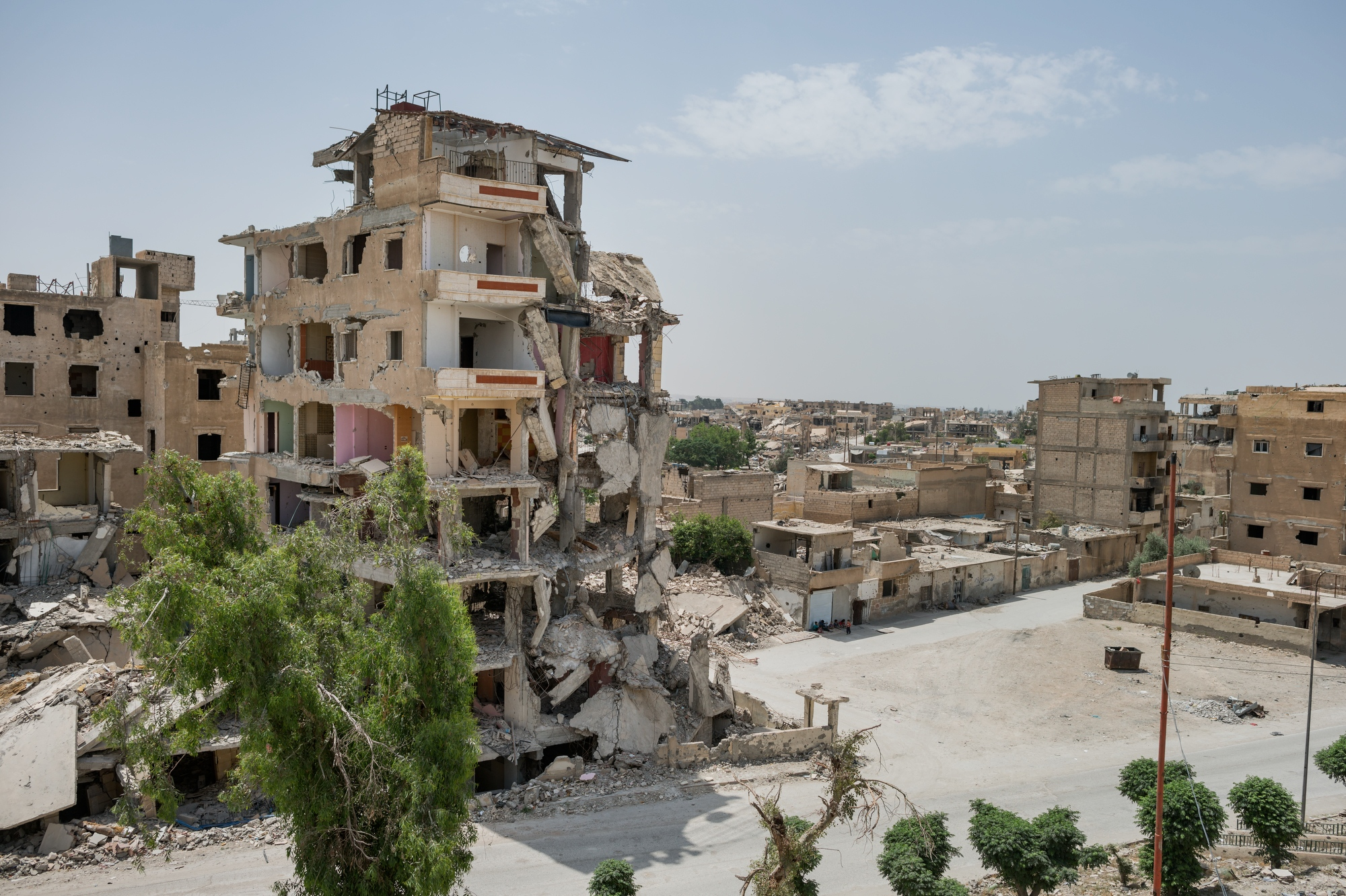The view from one of the still standing buildings in Raqqa. About 80% of the city is estimated to have been destroyed due to the heavy fighting against Daesh.