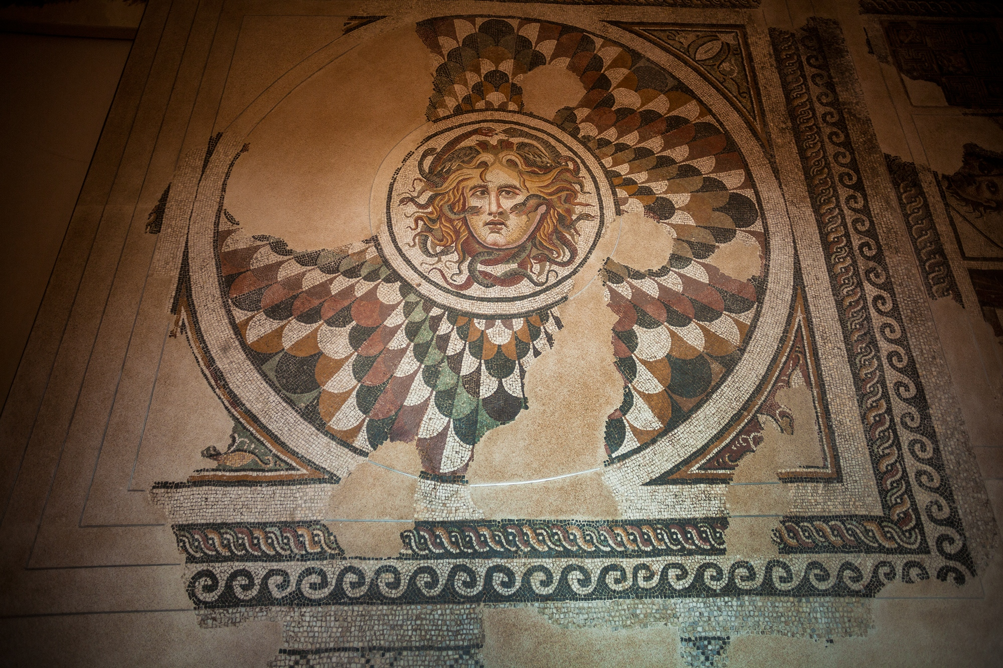 In May 2006, a precious polychrome mosaic made up of fine African marble tiles was found in Santa Palomba