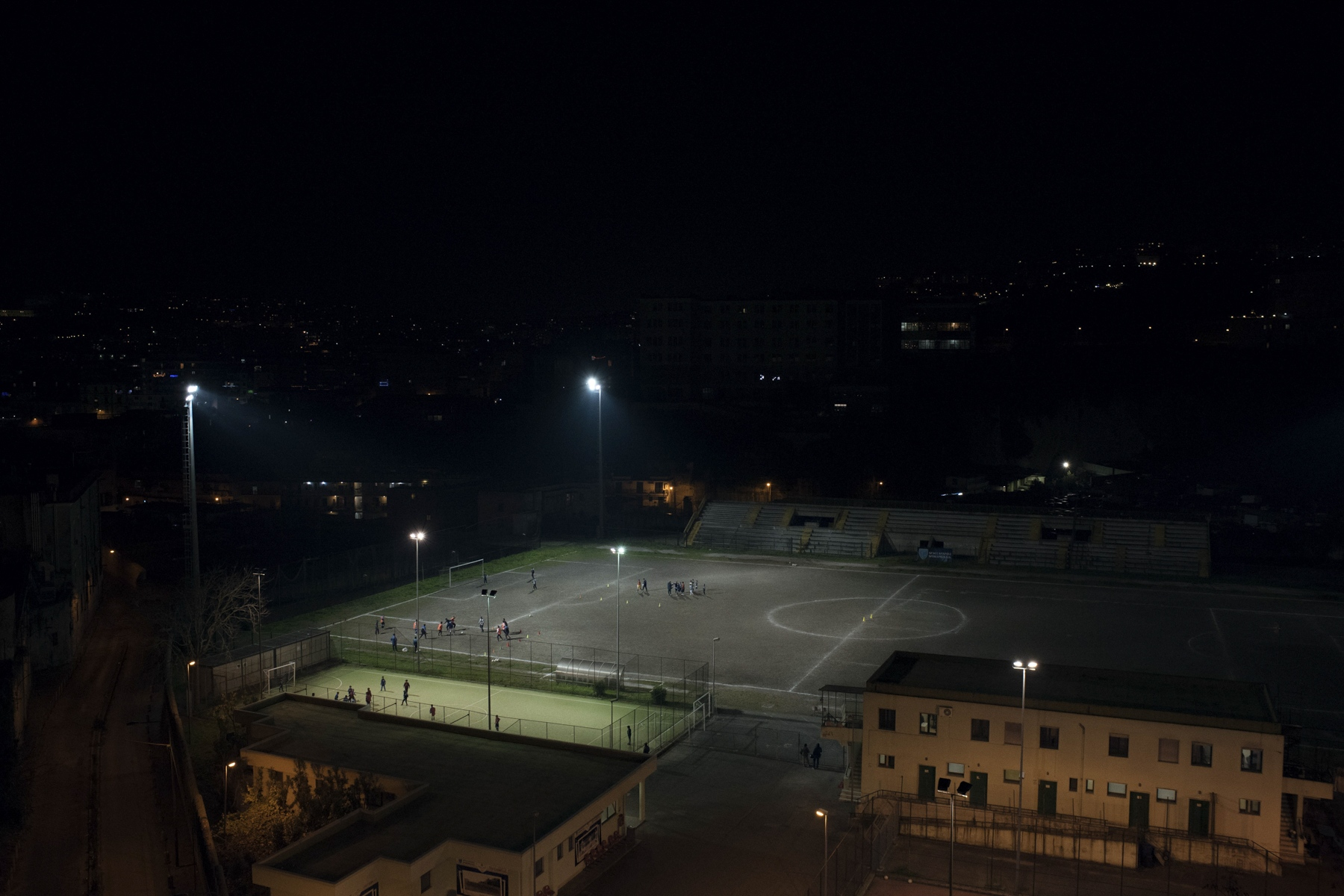 A view of a football field in the outskirt of Naples.