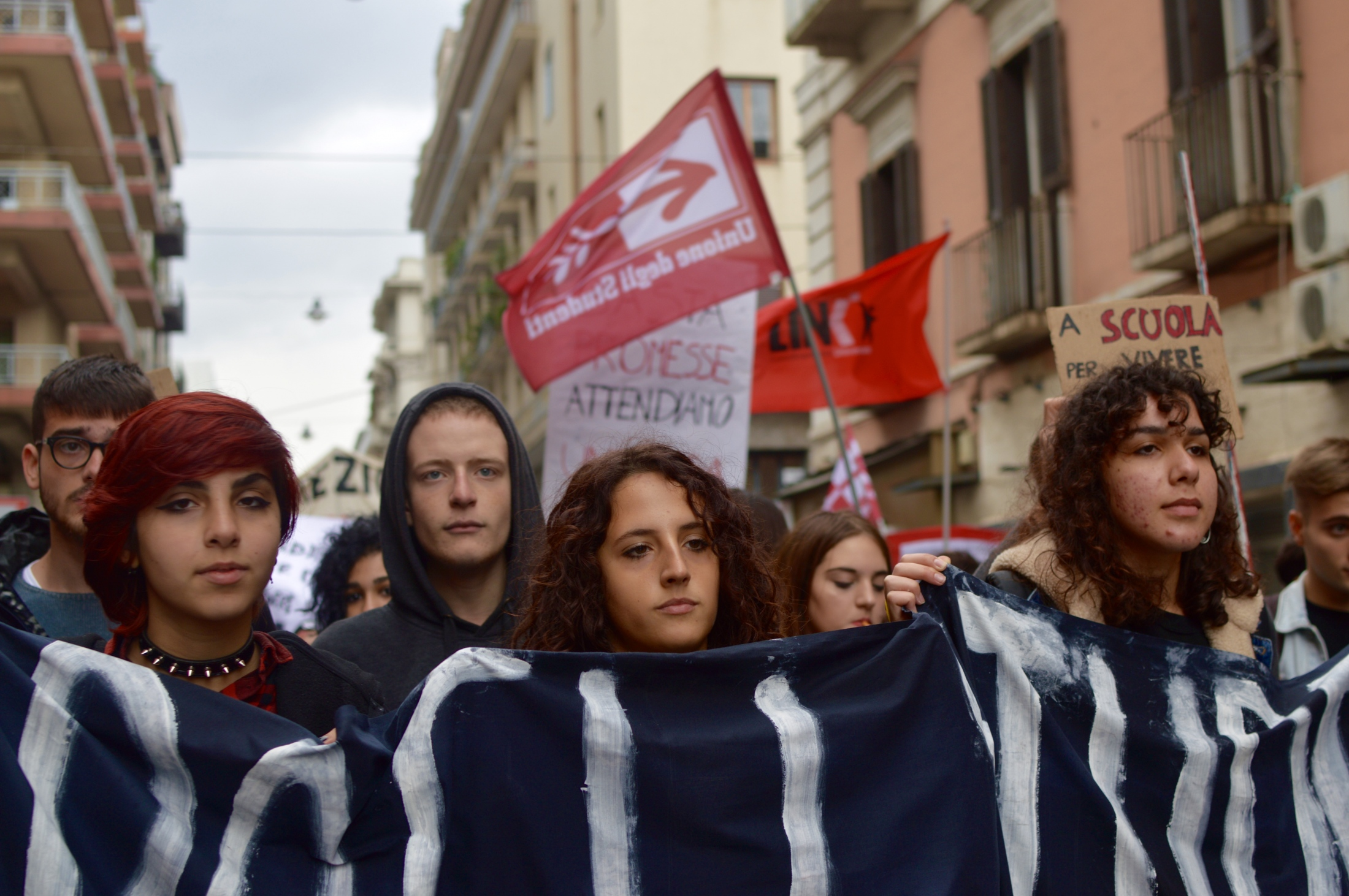 Young students attend a protest against the country's highly centralised education system and looming cuts targeting the peripheries of the south, Bari, March 2019