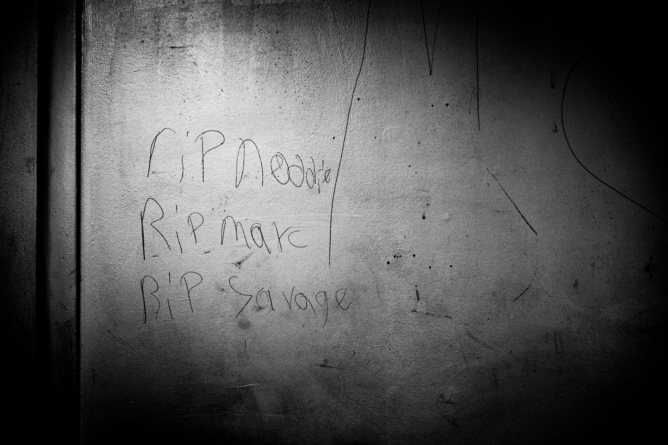Writing left on Pam's wall in Barry Farm. Pam moved out of Barry Farm February 3, 2018.
