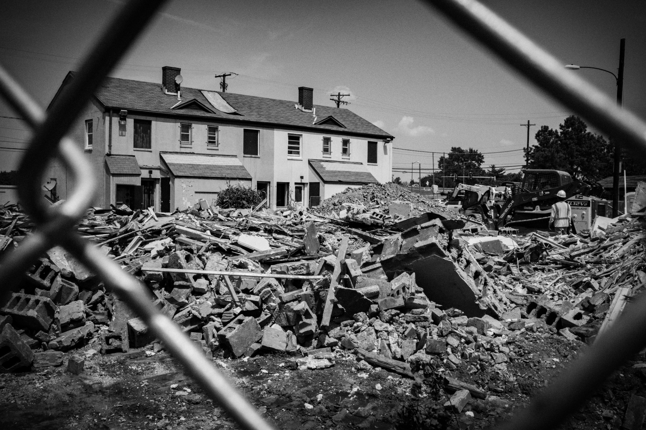 A group of Barry Farm tenants and their allies filed a lawsuit that caused redevelopment plans for their community to be sent back to the zoning commission in April. That could slow redevelopment, but relocation, demolition and infrastructure work are still authorized to continue. Here, the rubble of vacated Barry Farm units demolished in August.