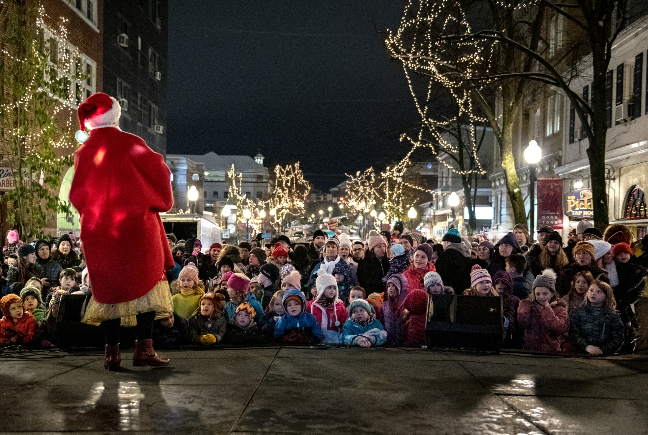 People gather at State College tree lighting ceremony Friday, Nov. 16, 2018, at Allen Street Gates, State College, PA.