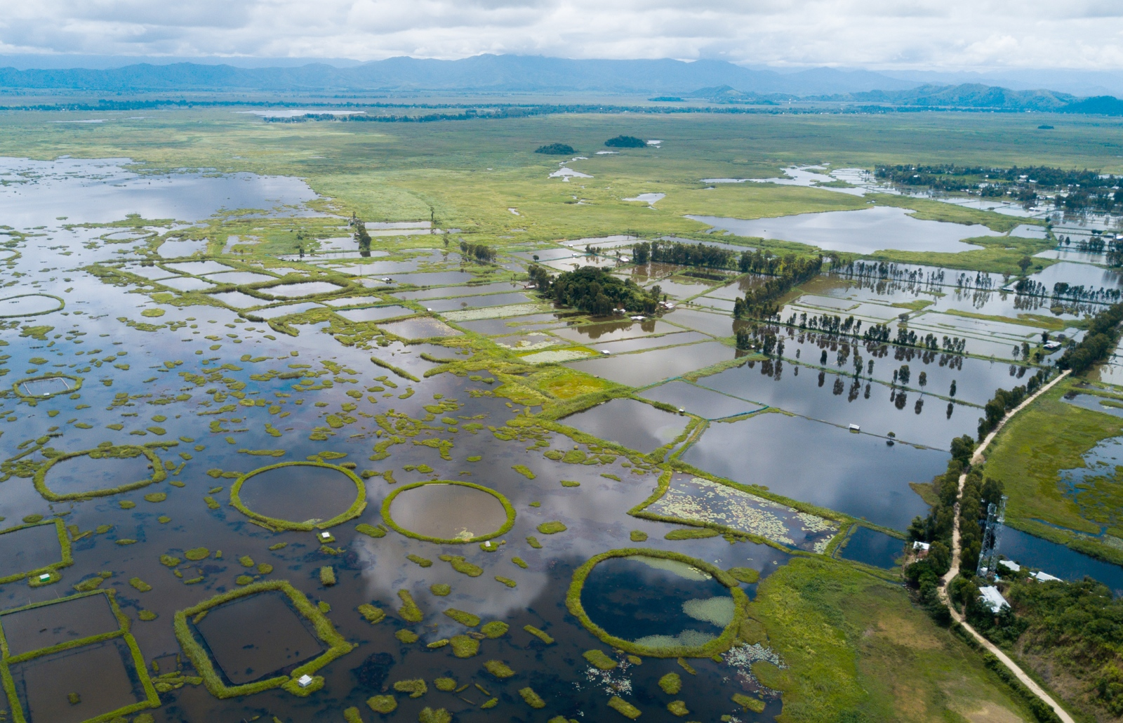 A view of the areas around Loktak Lake that are inundated by floodwaters.