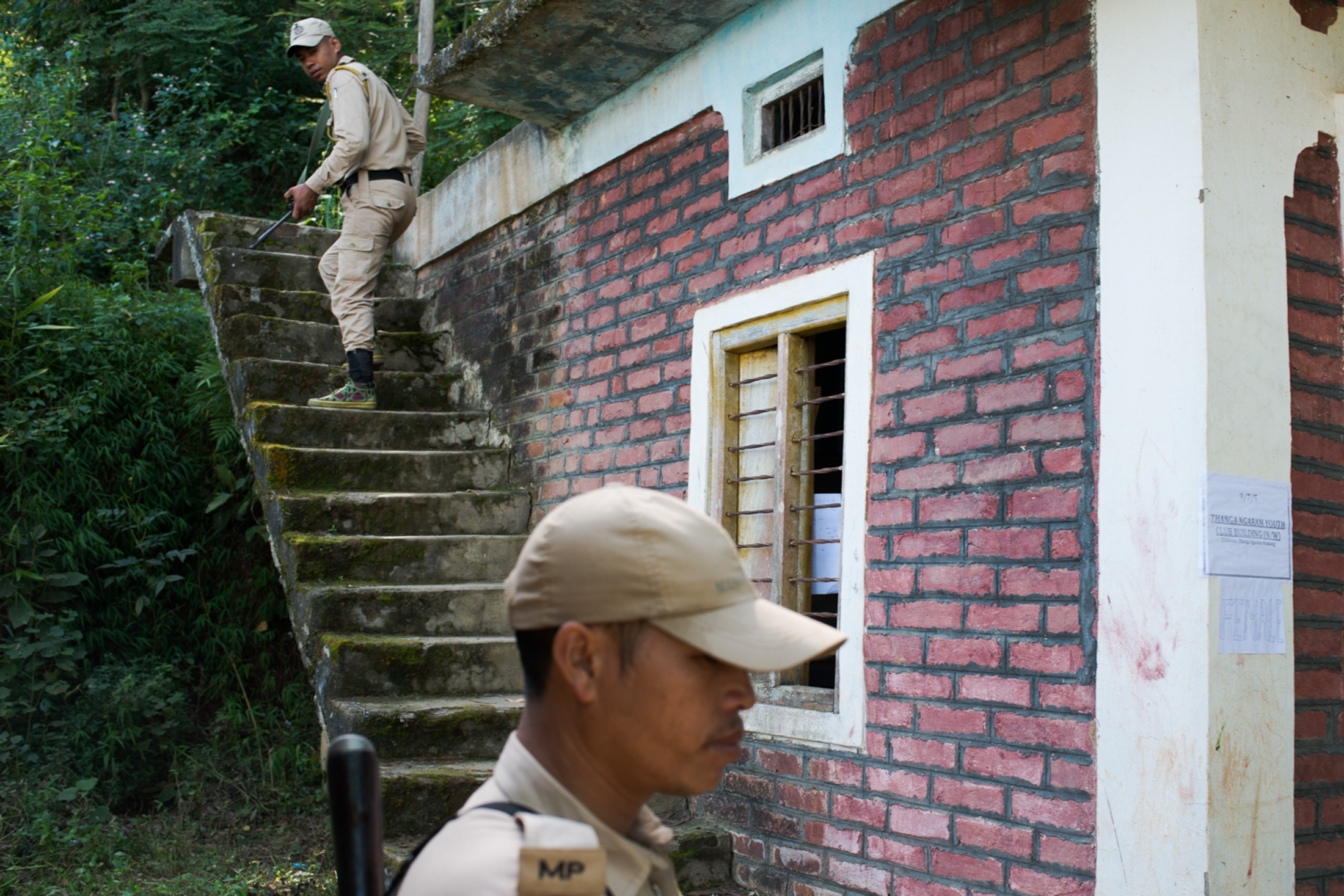 Security forces patrol a school at a school in Thanga village prior to polls. Areas surrounding Loktak have been used as hiding grounds by insurgent groups demanding a separate nation which has intensified the militarization of Loktak Lake. The Insurgency in Manipu r is an ongoing armed conflict between India and a number of separatist rebel groups in India's northeastern states.