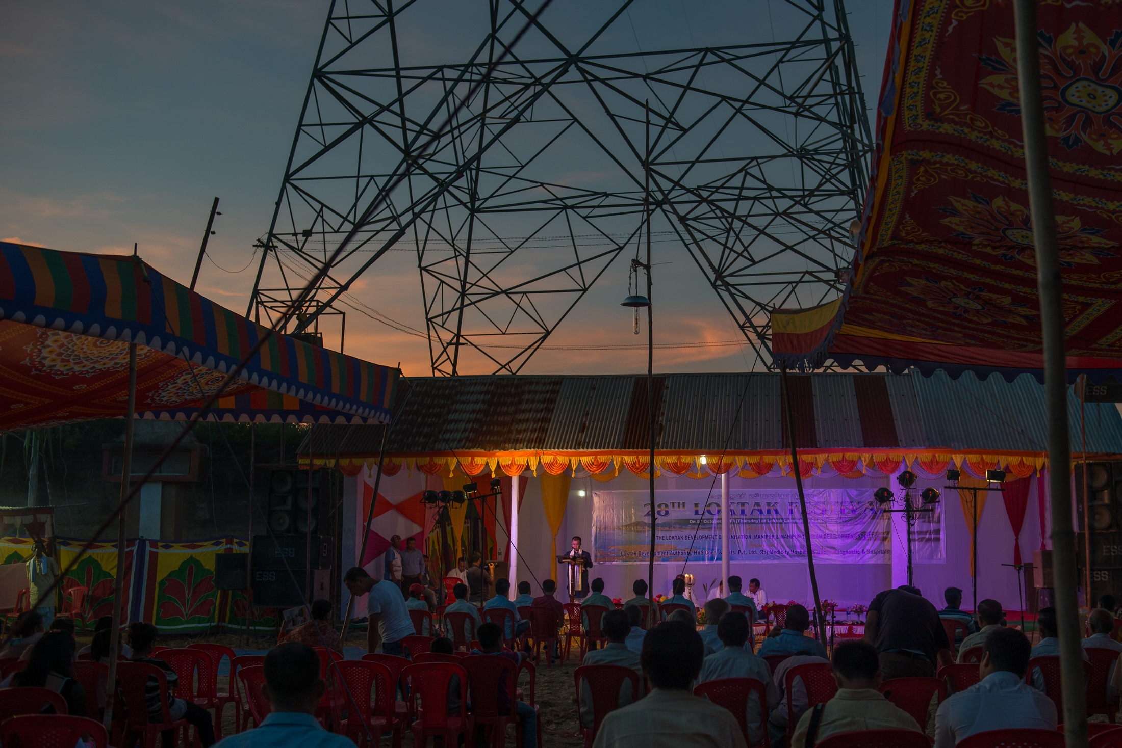 A government official delivers a speech at the 2017 Loktak Day celebration, emphasizing the conservation of the Loktak Lake. The 105 MW, Loktak Hydro Power Project, commissioned by the government in 1983 for power generation and irrigation has not only been underperforming but has also resulted in an ecological disaster in the Loktak Lake and impacted the livelihoods of over 30,000 fisherfolks.