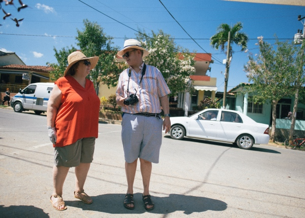 American tourists in the city of Vinales