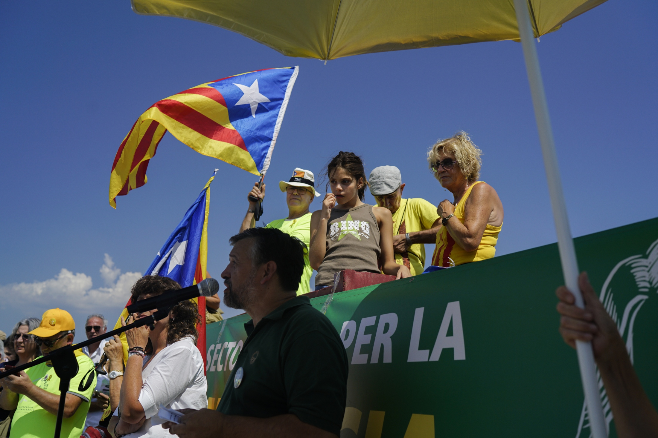 Current head of the Catalan Farmer's Union Joan Caball I Subirana speaks outside of the Puig de les Basses prison.