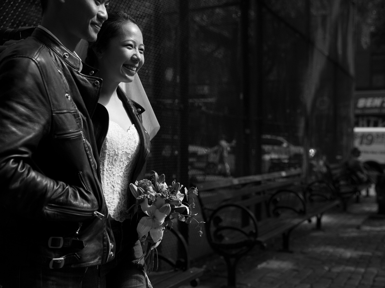 A couple who just got married, New York, 2017.