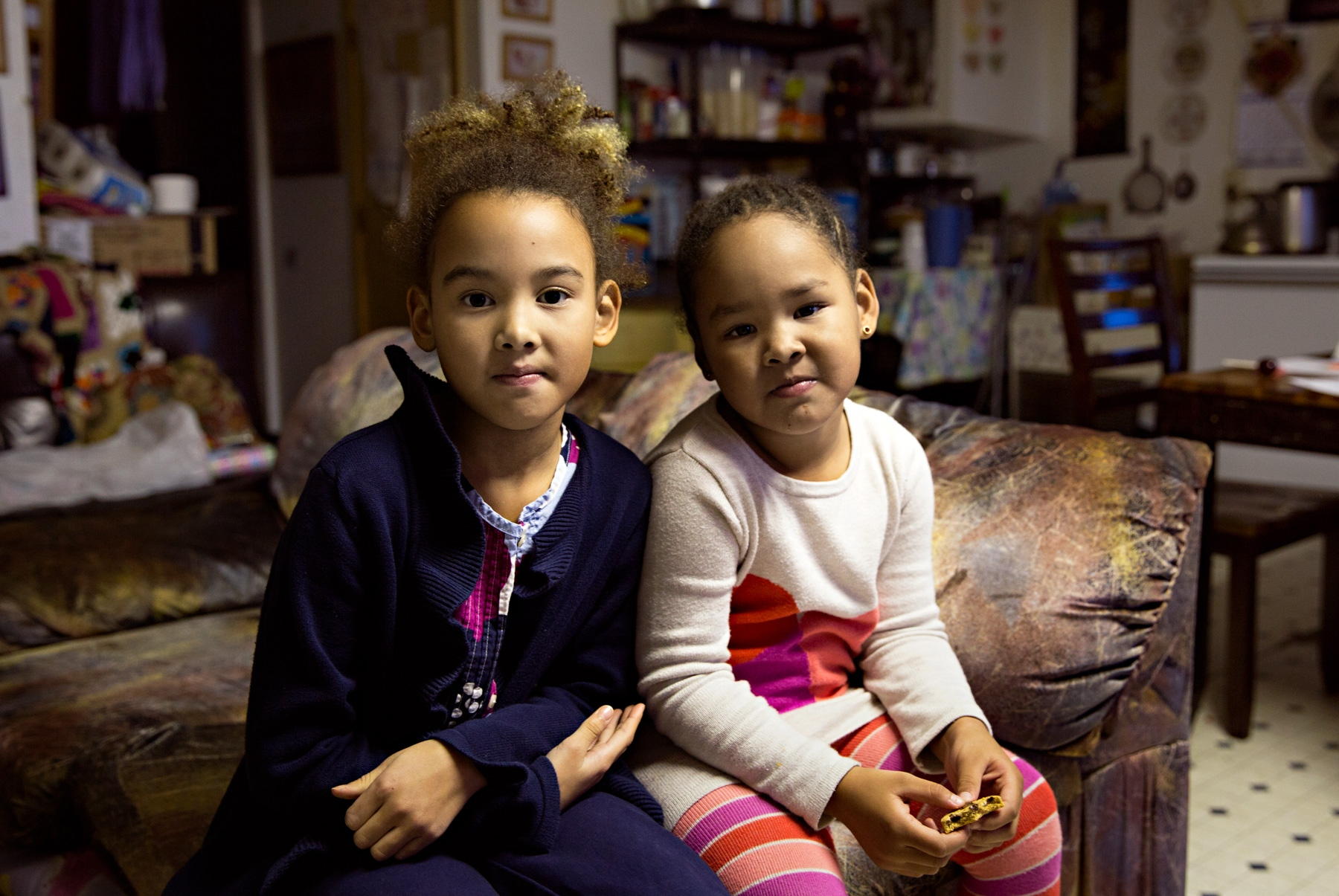 Kiyeivi (7) and Kalaya (3) stay with their grandmother during after school hours while their mother is at work.