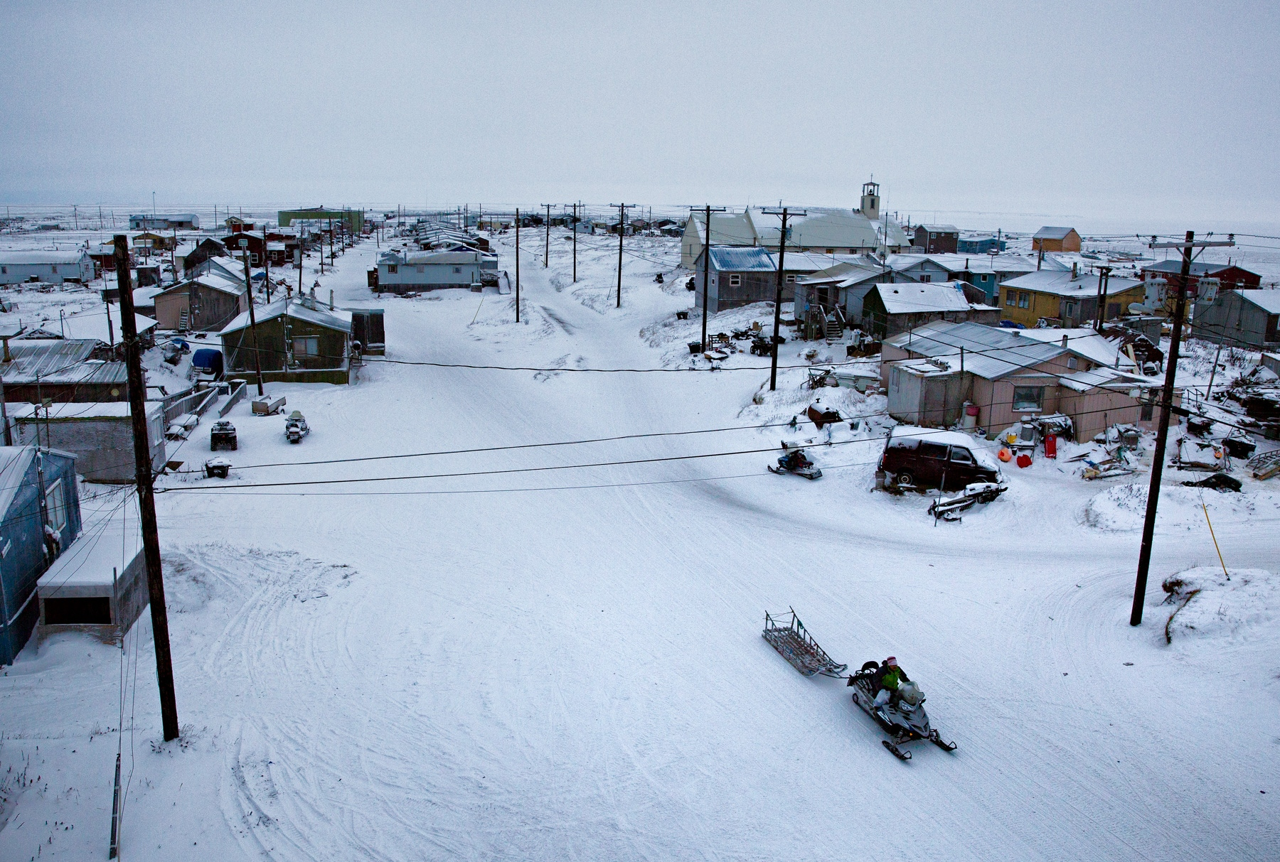 Shishmaref, Alaska is a small city of 600 Inupiaq Eskimos who have lived on the Sarichef Island in the Chukchi Sea, just north of the Bering Strait and about five miles away from the mainland Alaska.