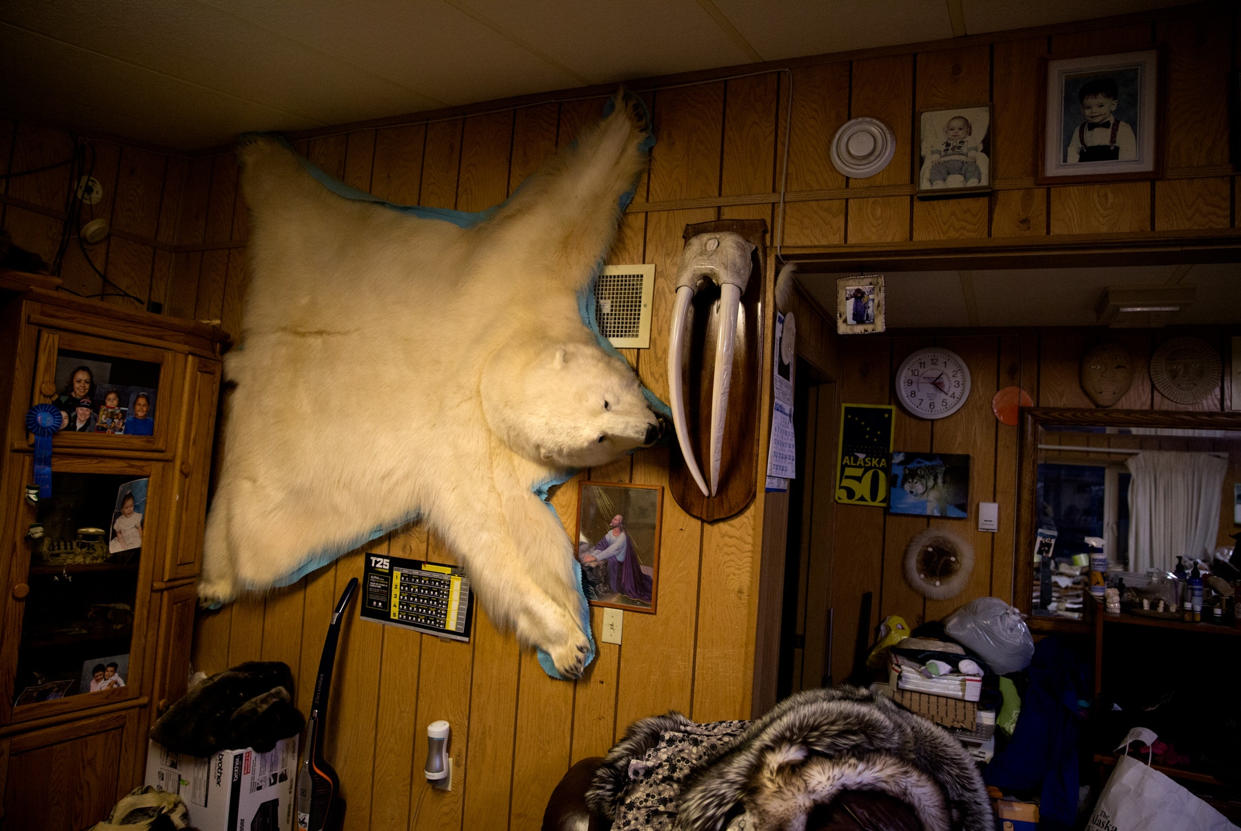 Bear skin, walrus tusks and other animal byproduct help bring income to the residents of Shishmaref, Alaska.