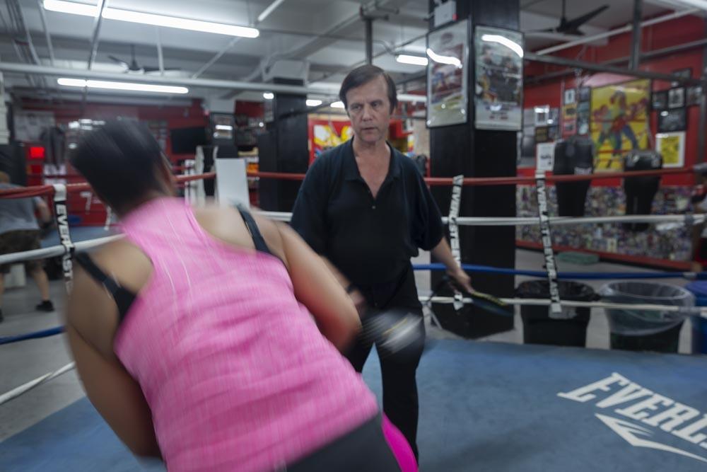 Kenya Coates trains with her coach Davis Murray.