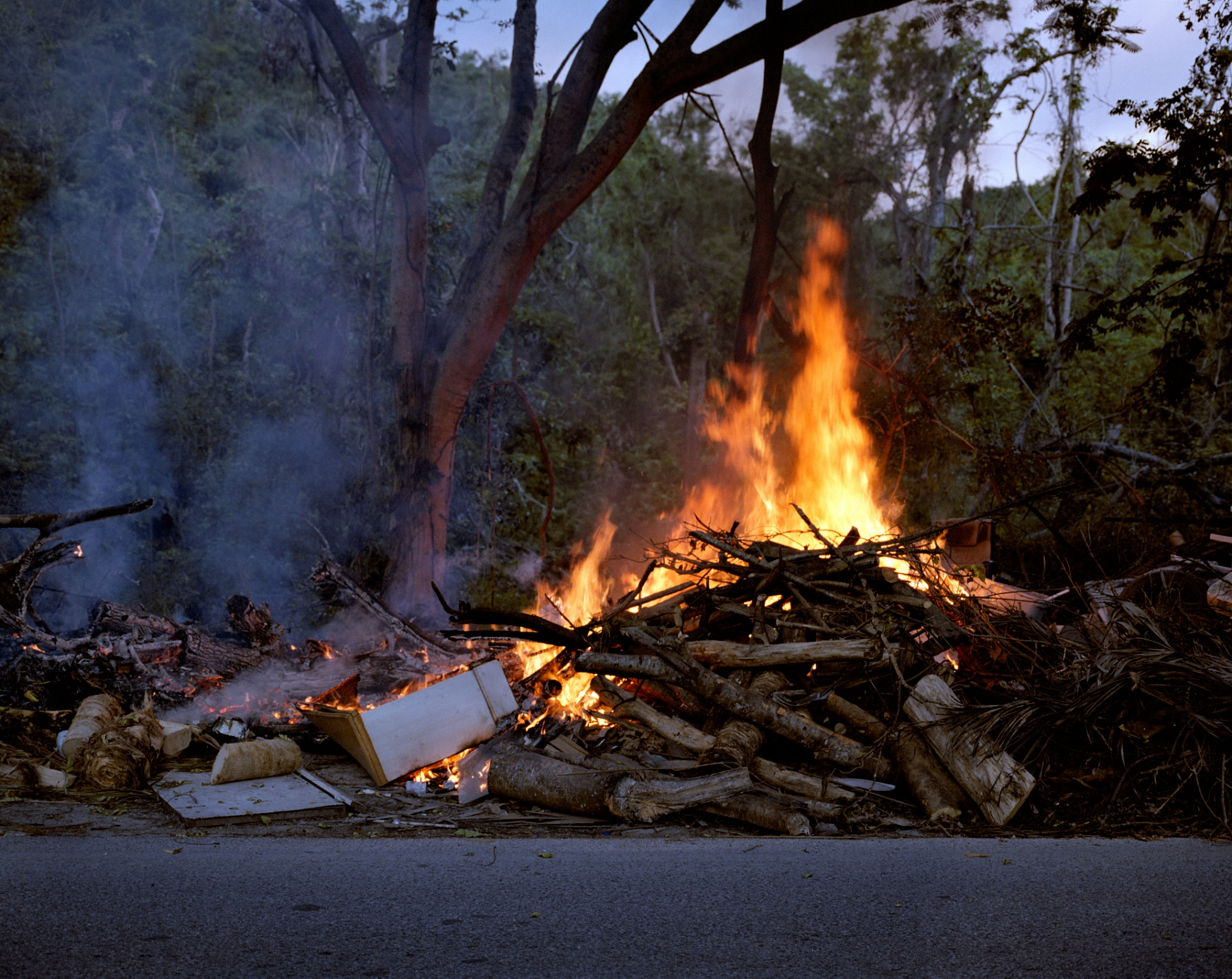 """Garbage burns down the road from my Grandmother Amparo's home in the barrio """"La Yuca"""". Residents from the area have resorted to burning debris from Hurricane Maria after waiting three months for their proper disposal. Ponce, Puerto Rico, December 2017 ."""
