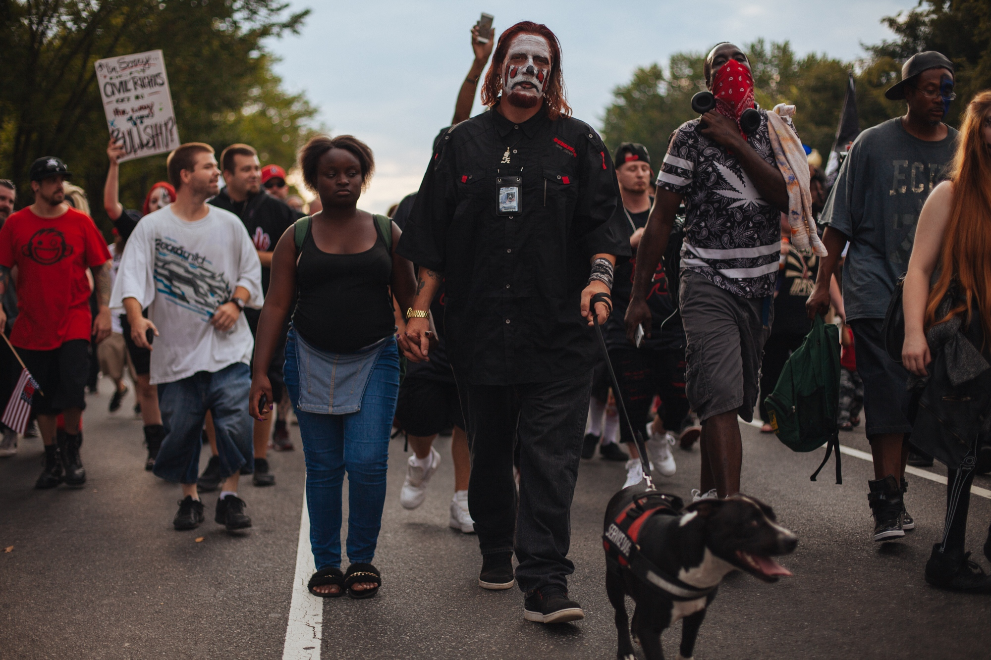 Fans of ICP (Insane Clown Posse) lead a group of Juggalo and juggalette marchers down Constitution Avenue NW during the Juggalo March on Washington, the march was organized to protest the FBI's classification of Juggalos as a gang, National Mall, Washington, D.C., U.S. September 16, 2017.