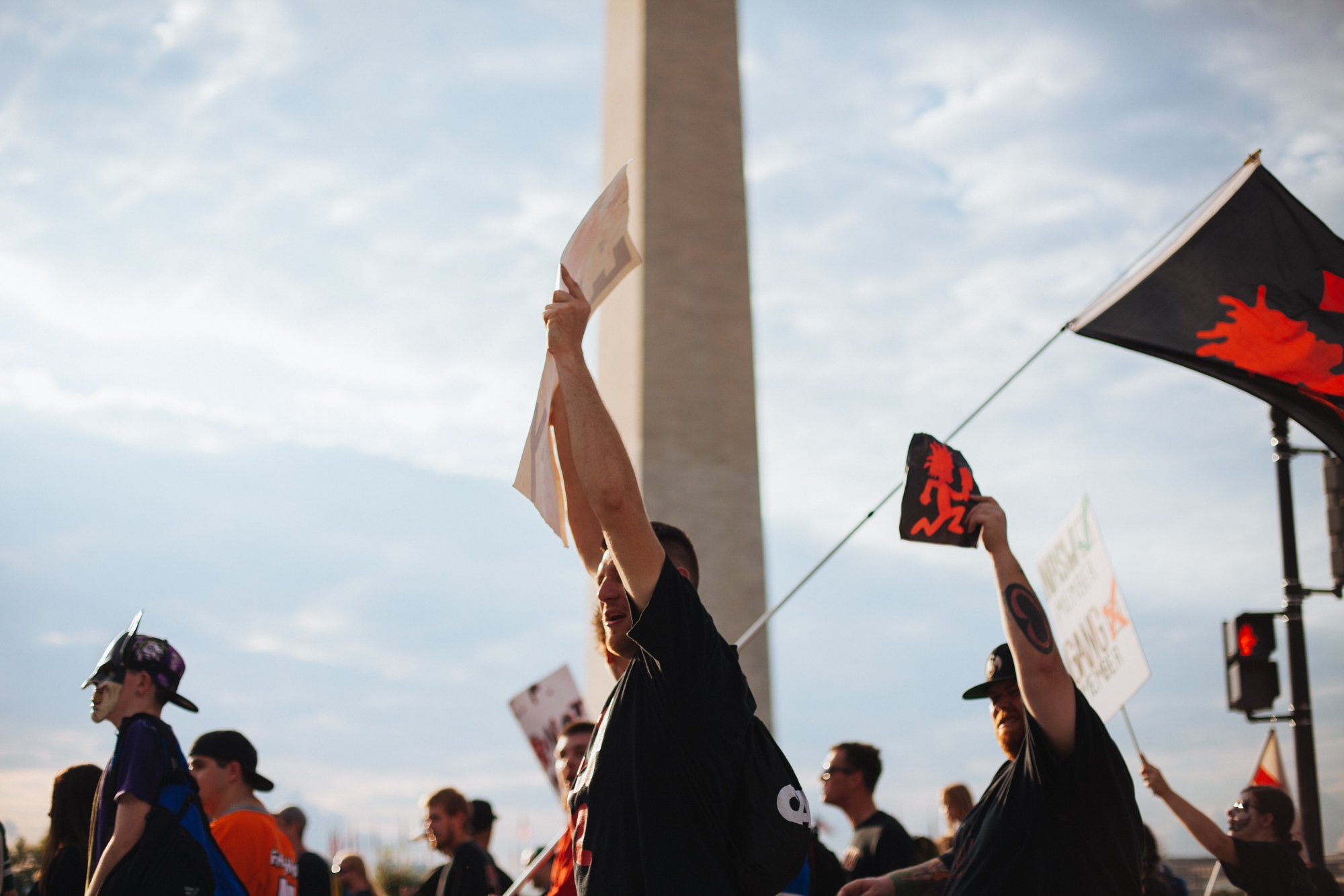 Juggalos and juggalettes march in front of the Washington Monument on 14th Street SW during the Juggalo March demonstration, the march was organized to protest the FBI's classification of Juggalos as a gang, National Mall, Washington, D.C., U.S. September 16, 2017.