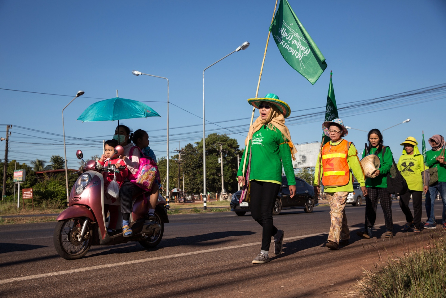 Mae Mali, a core-leader, leads the potash mining protest walk on day 5 on their way to the provincial capital.