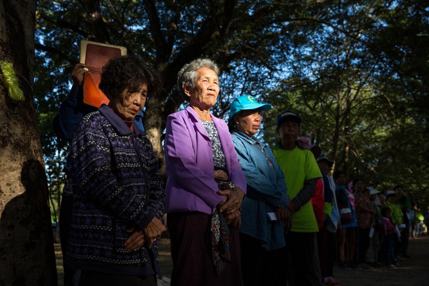 An elderly group of women listen to talks by visiting experts on the subject of mining in Northeast Thailand at Sakhon Nakhon University. Over 80% of the protest group are women who play a vital role in any such activity.