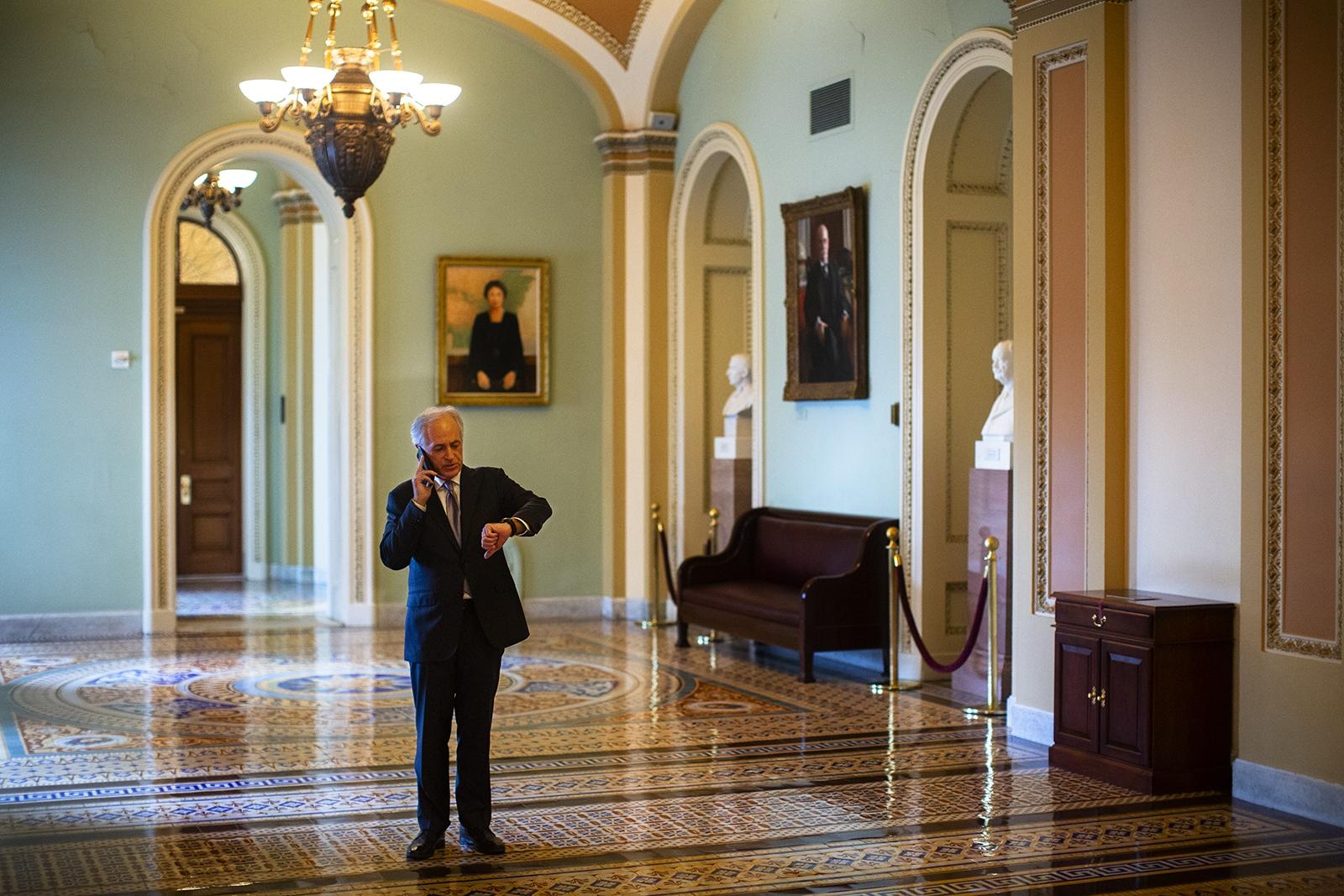 Senator Bob Corker outside the Senate Chamber on Friday, December 21st, 2018, just hours before the government shutdown.