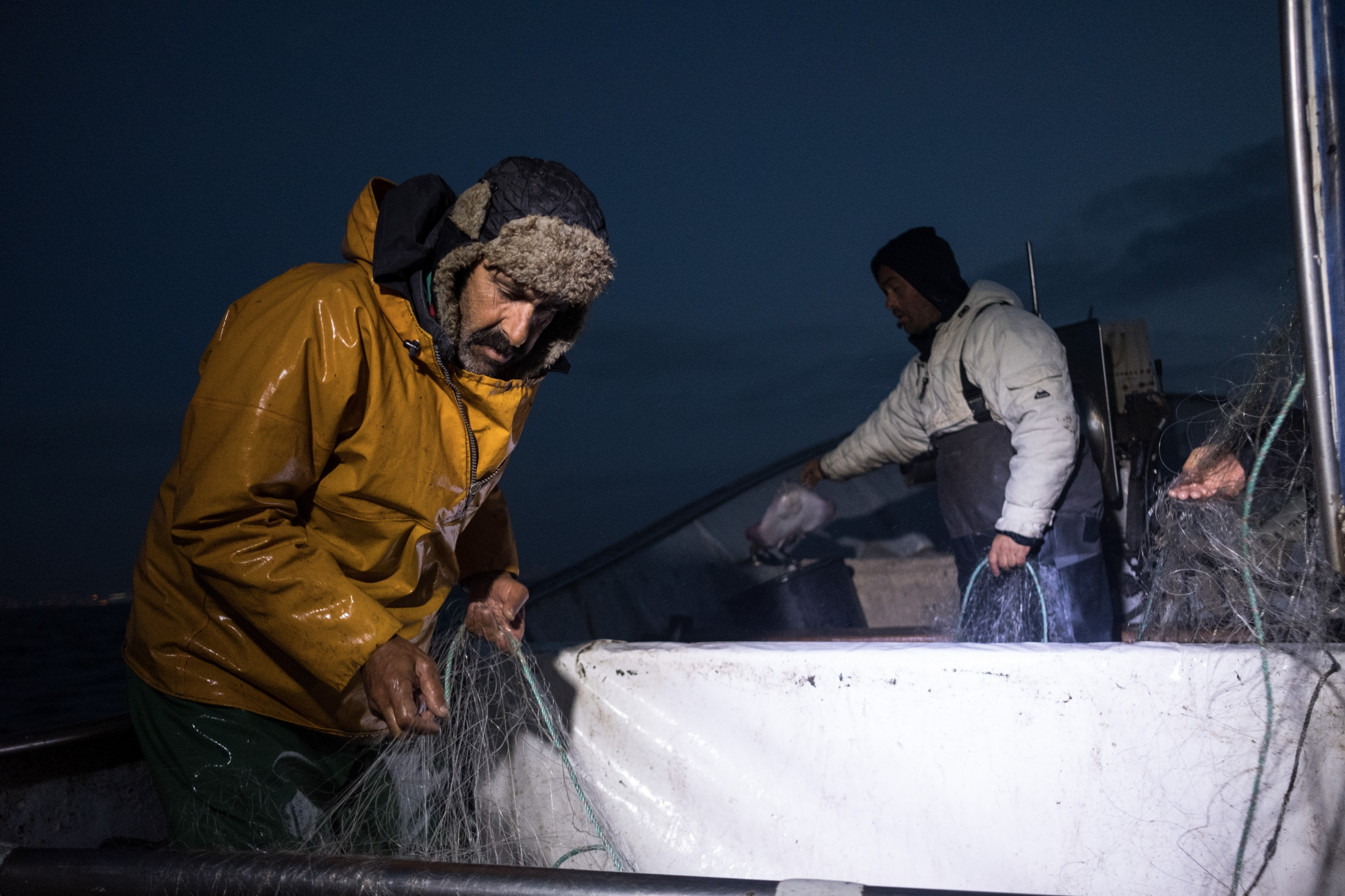 "Paulo and Pedro ""Matuta"" collecting cuttlefish from the nets. It is the first time in 10 days that they go fishing. Leaving shore at 6 a.m. and coming back after 10 hours."