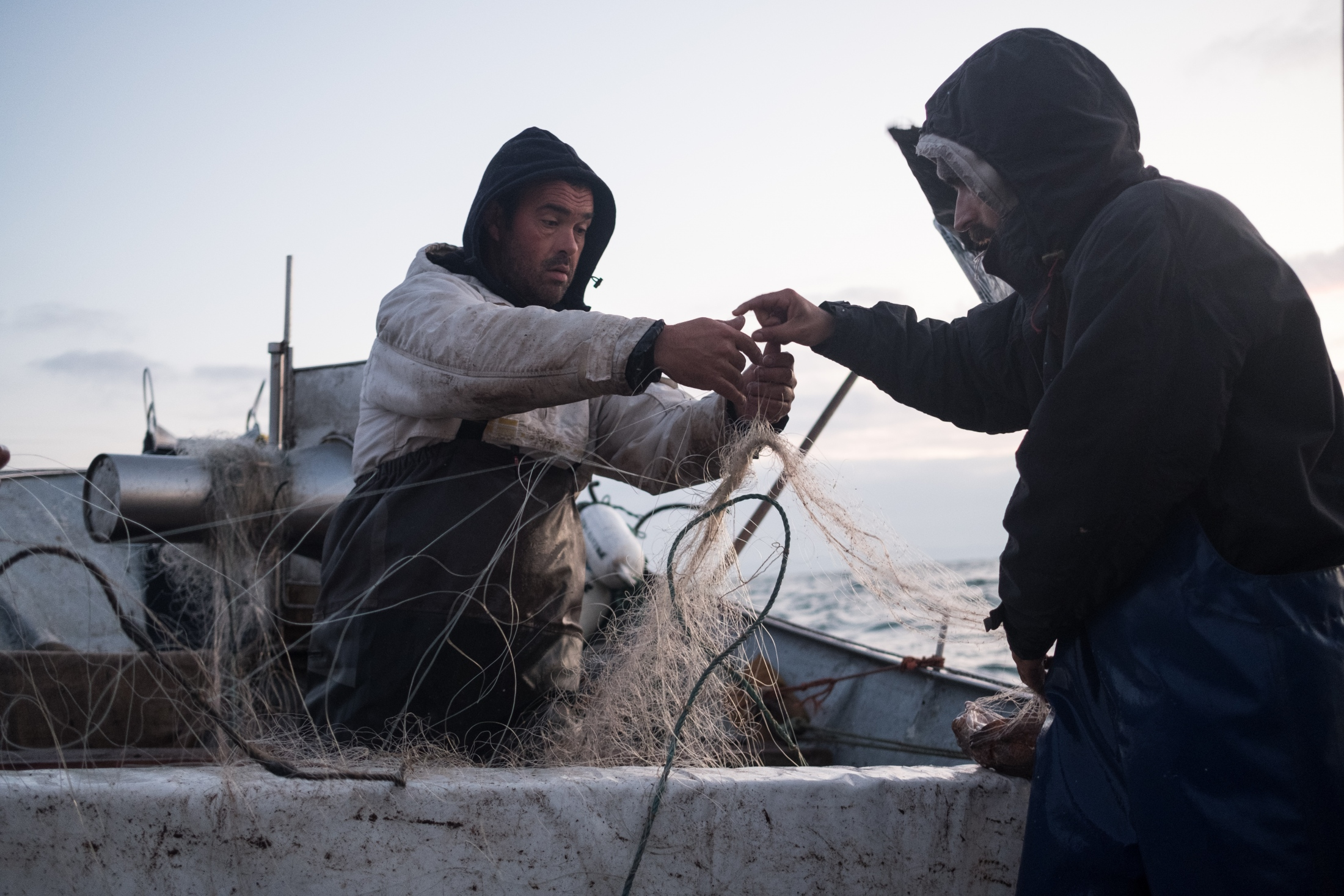 "Pedro ""Matuta"" and Bruno pulling the net on the boat. Paulo and Bruno are father and son and have been working for Pedro for the past years."