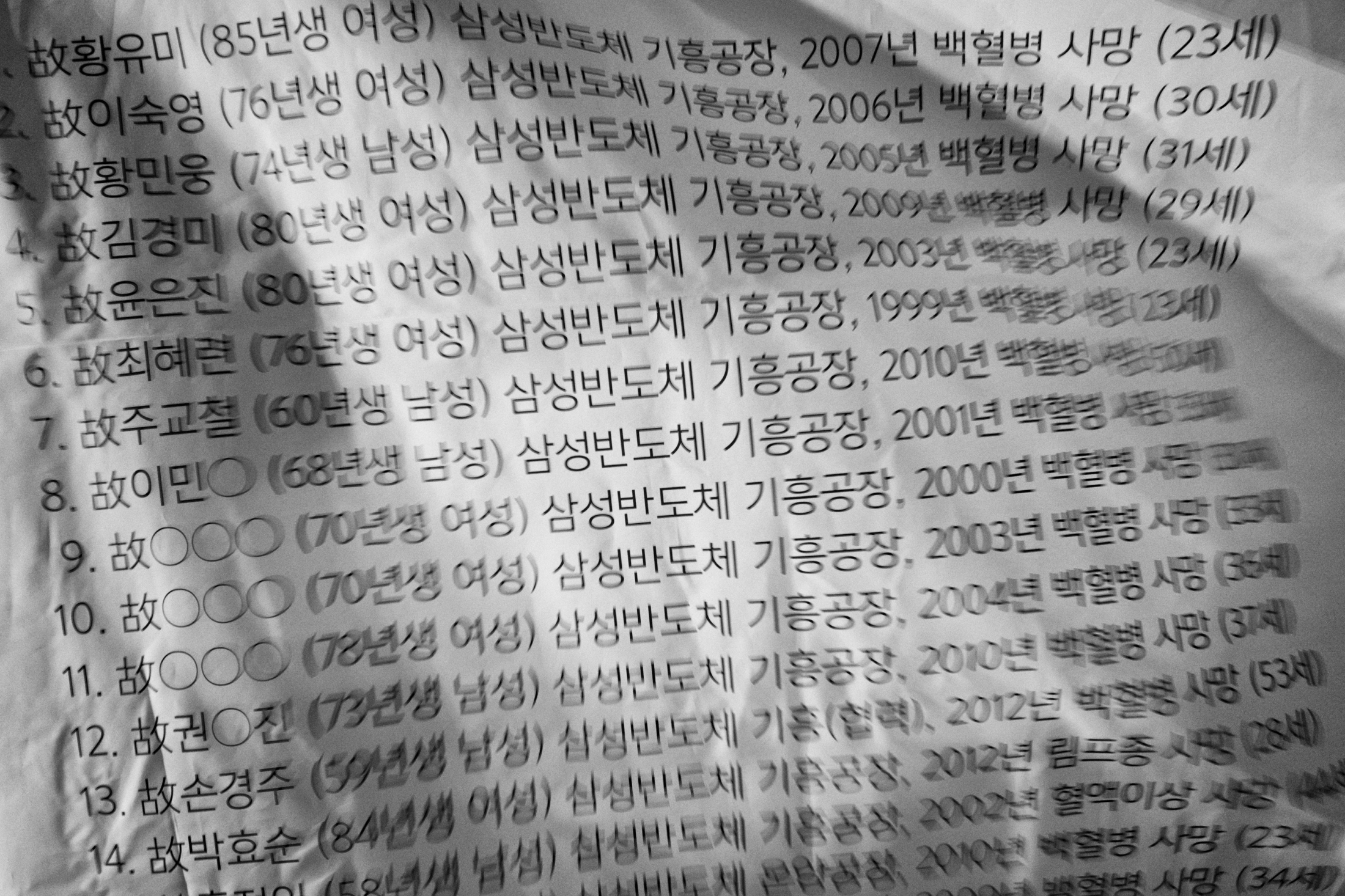 The names of the dead victims from Samsung Electronics semiconductor chip factories are seen on a banner set up on the street in front of Samsung Town Headquarters in Seoul, South Korea on Mar. 6, 2017.