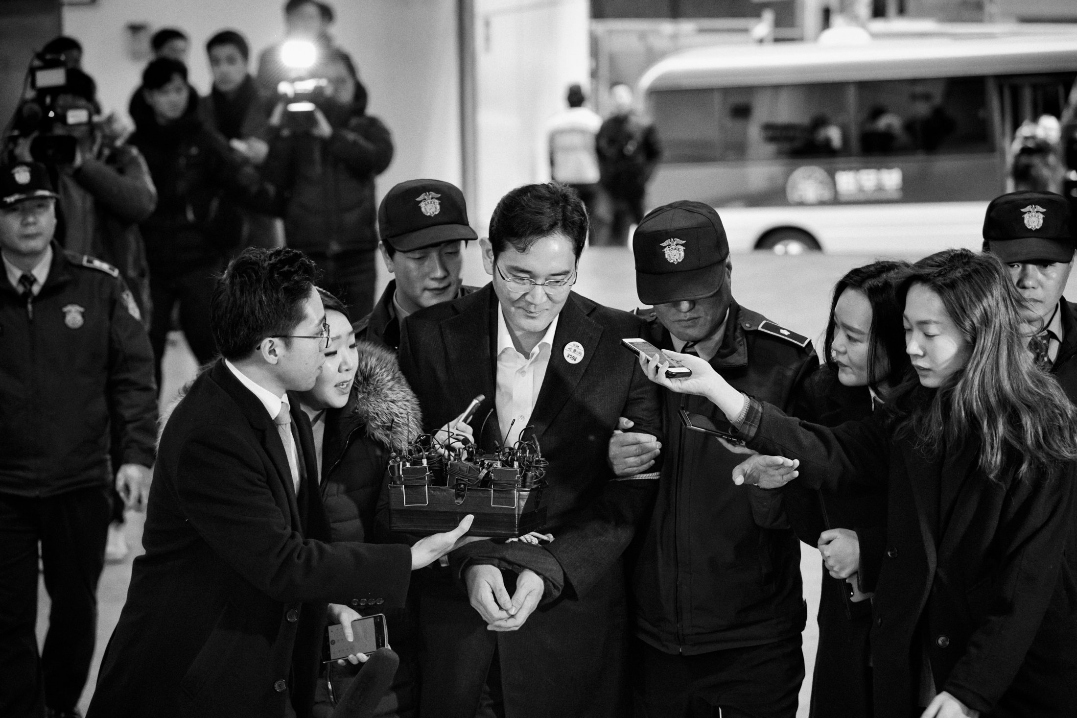 Lee Jae-yong, also known in the West as Jay Y. Lee, the vice chairman and the heir of Samsung group, is taken to the special prosecutors' office in Gangnam, Seoul for questioning on Sunday morning. Lee was arrested on Feb. 17, 2017 for his alleged role in the corruption scandal which led to the impeachment of President Park Guen-hye. Lee was accused of bribery, embezzlement and hiding assets overseas and perjury by the special prosecutors' team which investigate the worst corruption scandal in South Korean history.