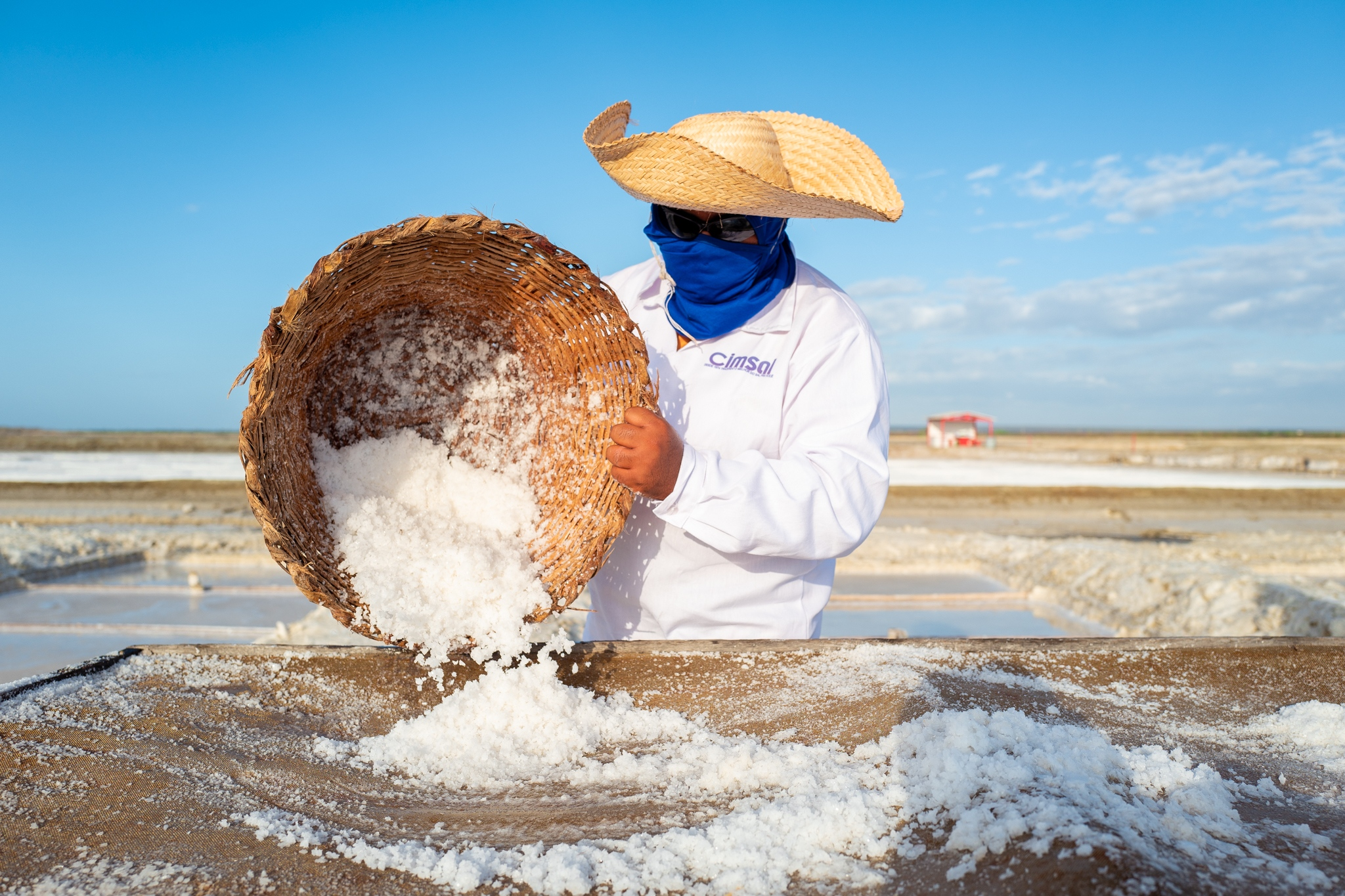 A worker collects a layer of salt on a farm in northern Brazil. By 2050, when climate change is expected to have a catastrophic effect on the world's geography, there will be winners and losers. Salt producers will benefit from the new scenario. For them, the hotter, the more salt they will produce. Mossoró, Rio Grande do Norte, Brazil.