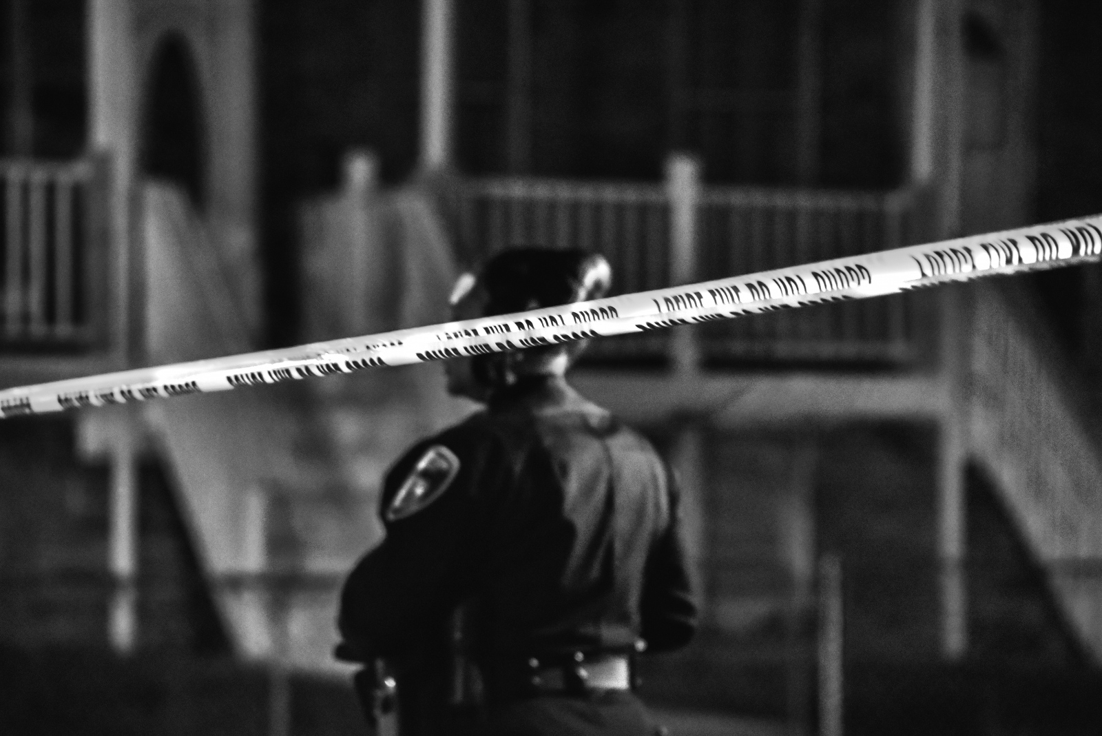 A Baltimore City police officer at a crime scene in October, 2018. The year ended with over 300 homicides.