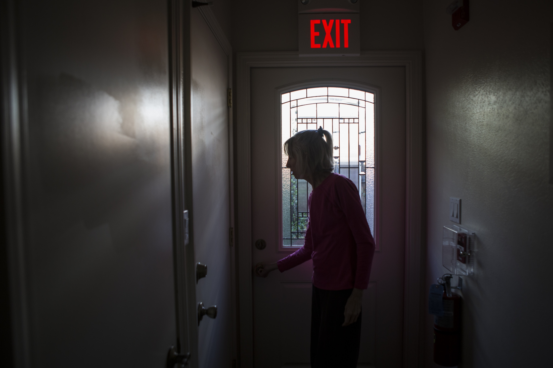 While aimlessly wandering, she goes around tugging and turning on the doorknobs attempting to open them. Nancy was given five to eight years to live after her official diagnosis of younger-onset Alzheimer's disease. She has been suffering from the disease for nearly eight years.
