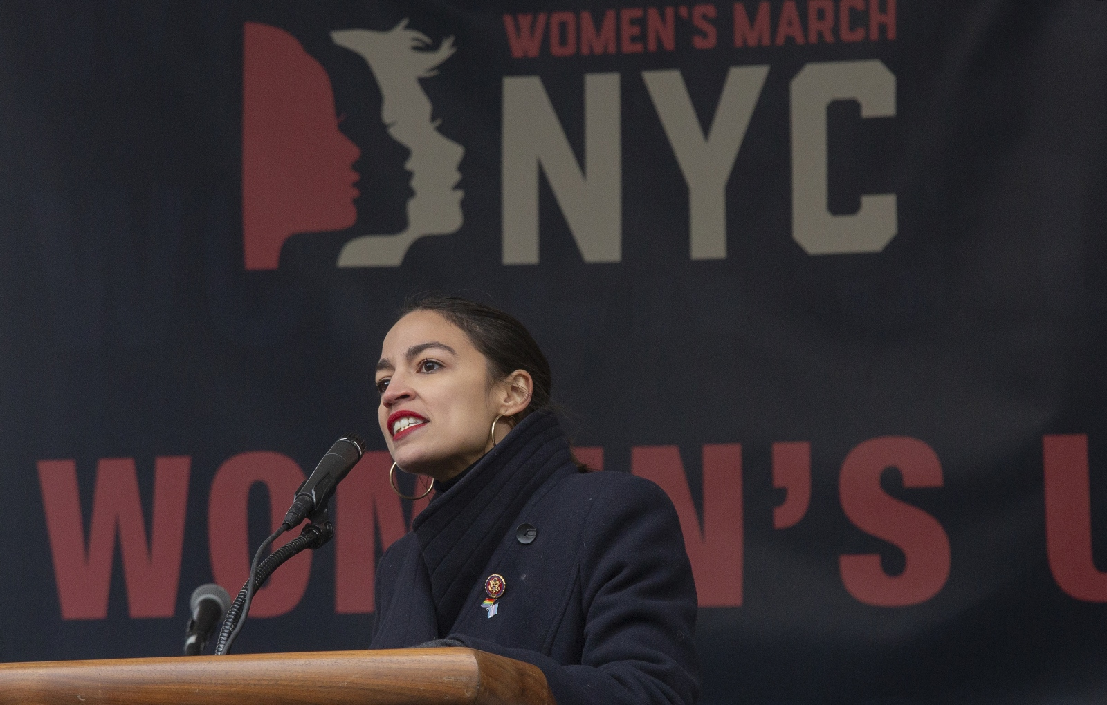 Photography image - Congresswoman Alexandria Ocasio-Cortez  speaking at the Women's March Rally on January 19, 2019, at Foley Square, where thousands of women gathered. New York, NY January 19, 2018.
