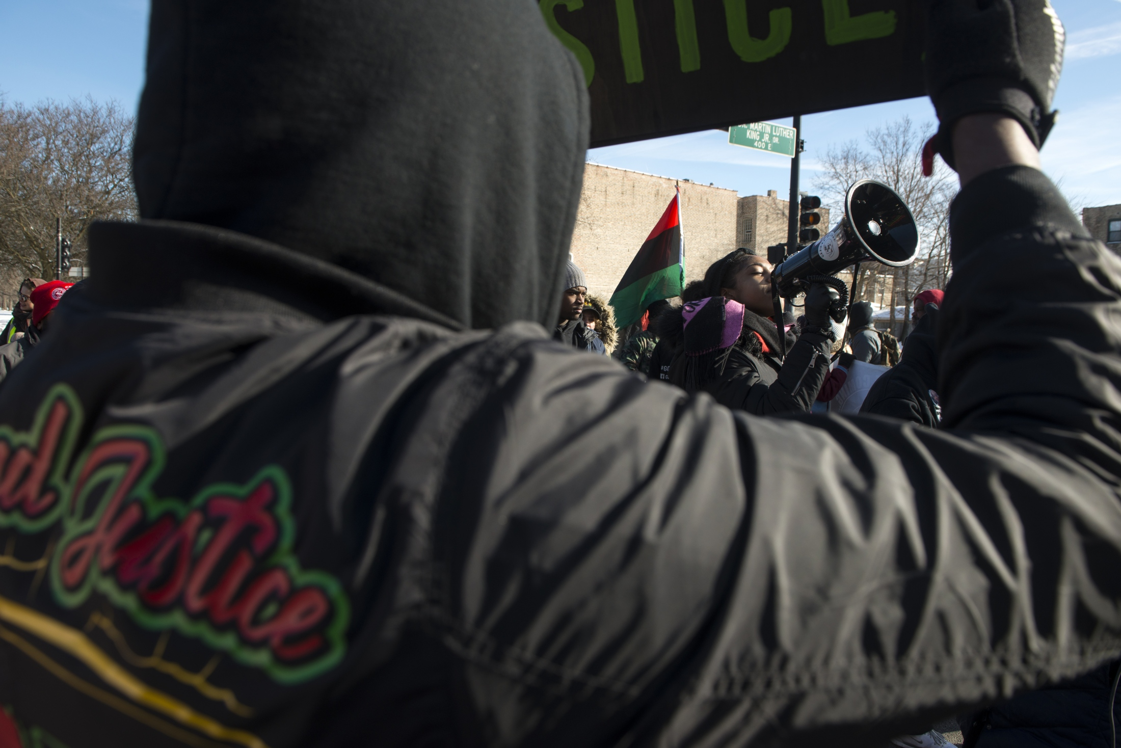 """Photography image - 01.21.19  In the wake of what some have called """"A travesty of justice,"""" Activist and community leaders march down King Drive in freezing temperatures in response to Jason Van Dyke sentencing, and the CPD conspiracy acquittal."""