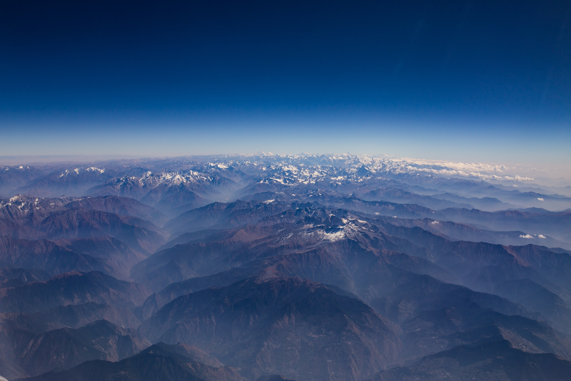 Himalayan valley's filled with smoke from both low-land fires and fires from local Himalayan communities. India.
