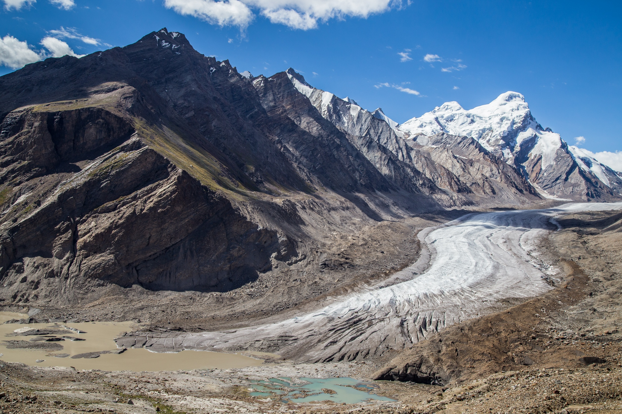 The mighty, but retreating Drang Drung glacier in India's Zanskar Himalaya range. According to locals, the glacier was hundreds of metres longer and thicker no more than 20-years ago.