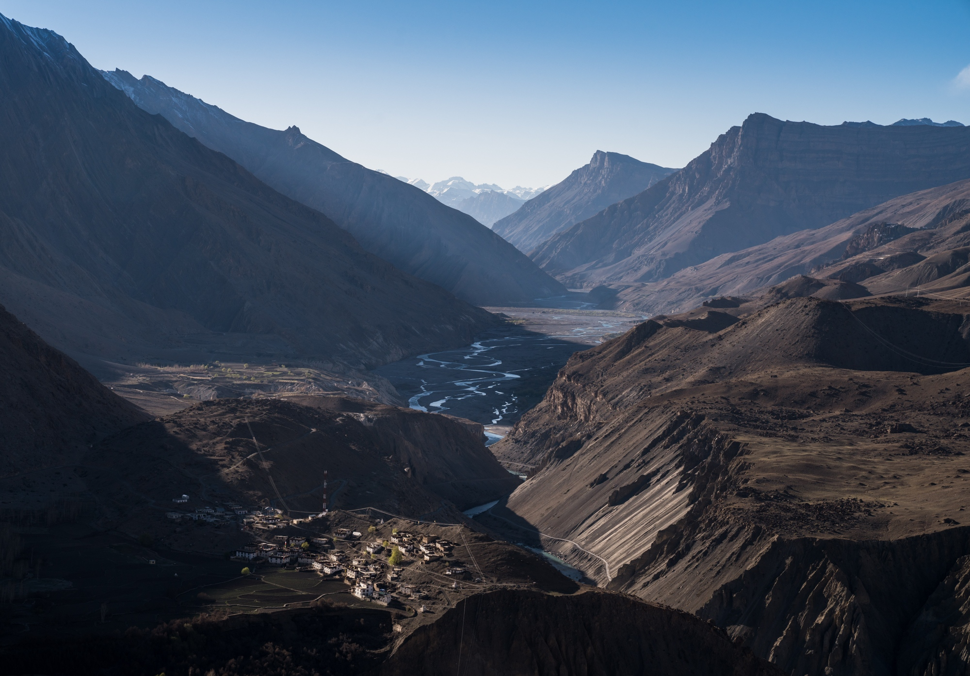 The snaking Spiti River carves its way through on the valley floor originating from the high and remote Himalayan mountain glaciers. This water, connecting with other rivers will eventually reach the flat plains of India.