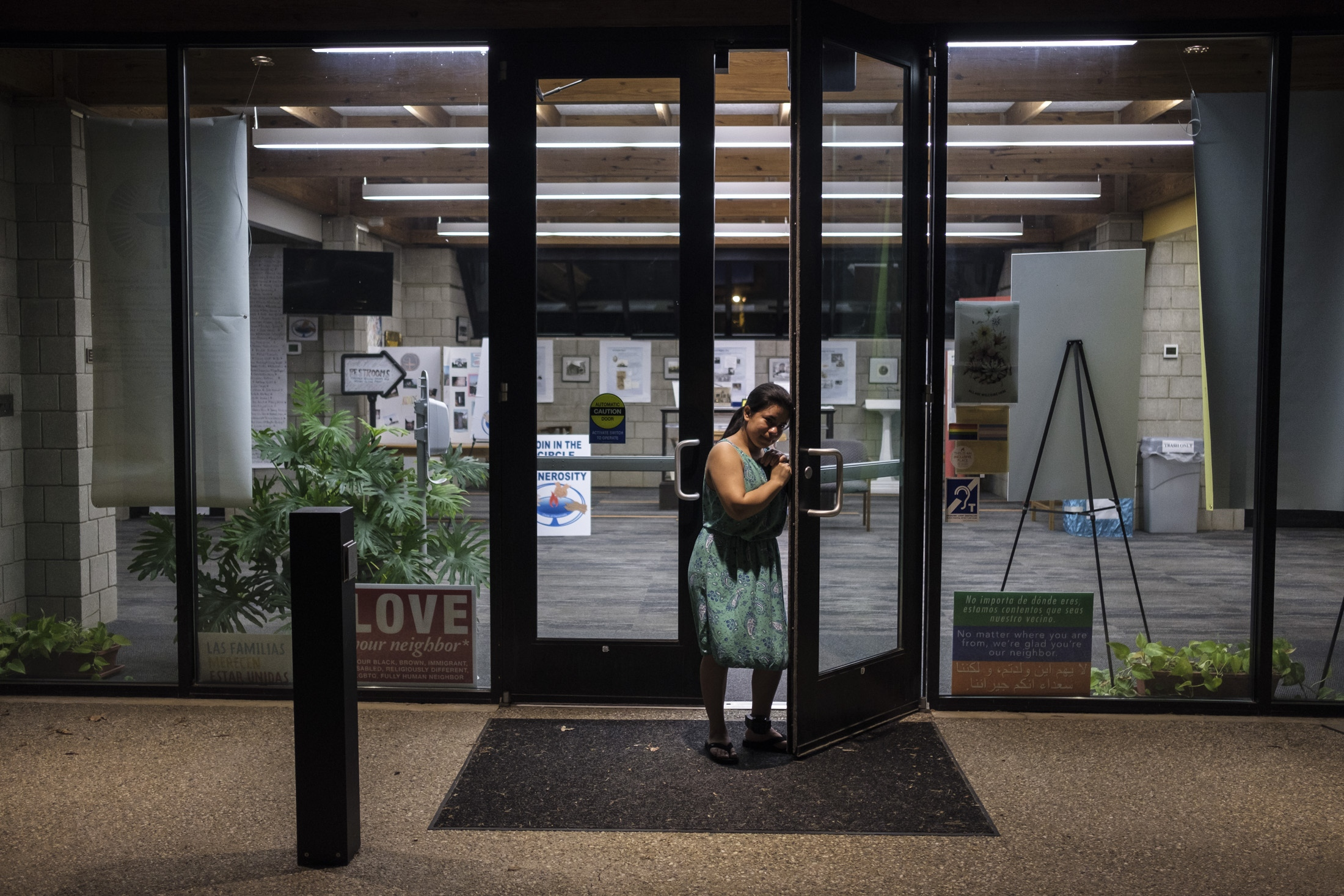 First time in months that Abbie opens the door of the First Unitarian Universalist Church that receive her in sanctuary in June 2018.